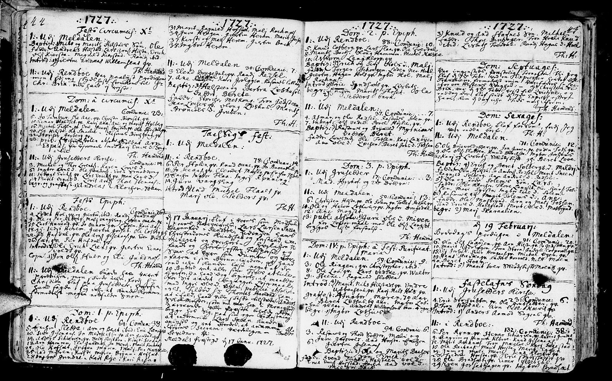 SAT, Ministerialprotokoller, klokkerbøker og fødselsregistre - Sør-Trøndelag, 672/L0850: Ministerialbok nr. 672A03, 1725-1751, s. 44-45