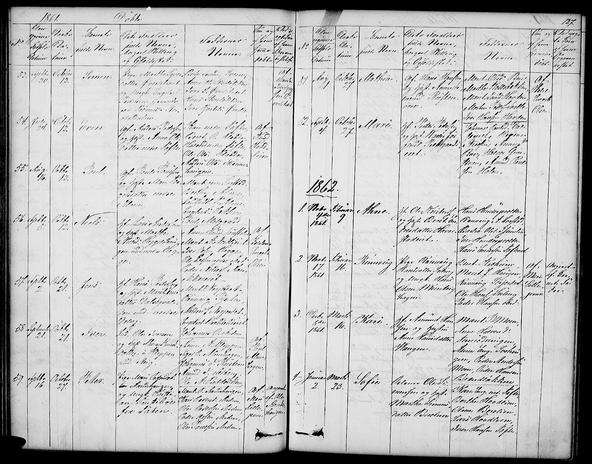 SAH, Sør-Fron prestekontor, H/Ha/Hab/L0001: Klokkerbok nr. 1, 1844-1863, s. 127