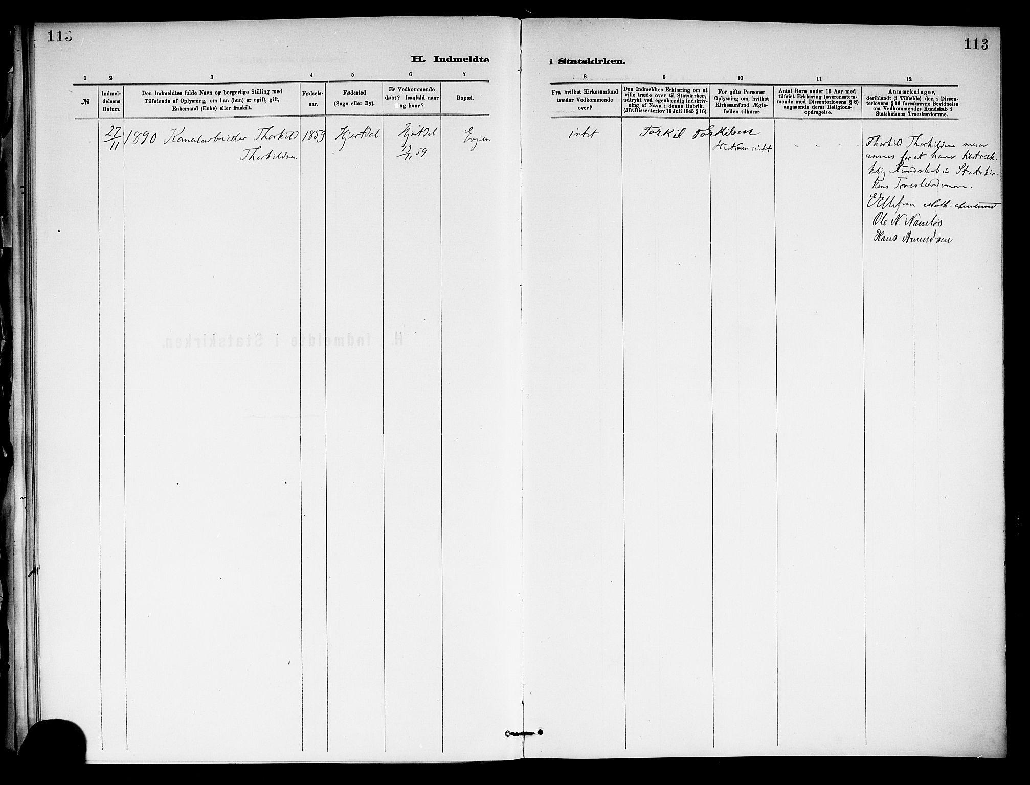 SAKO, Holla kirkebøker, F/Fa/L0009: Ministerialbok nr. 9, 1881-1897, s. 113