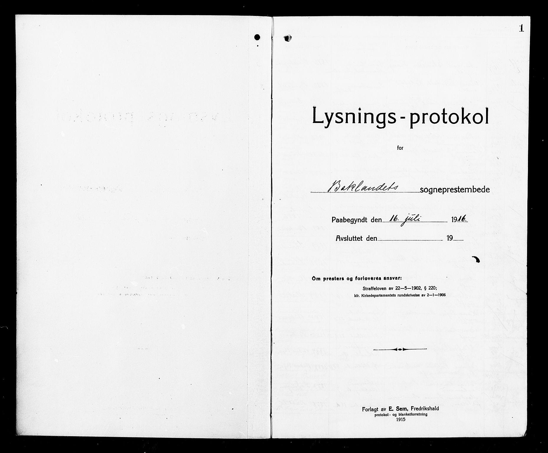 SAT, Ministerialprotokoller, klokkerbøker og fødselsregistre - Sør-Trøndelag, 604/L0195: Lysningsprotokoll nr. 604A16, 1916-1921, s. 1