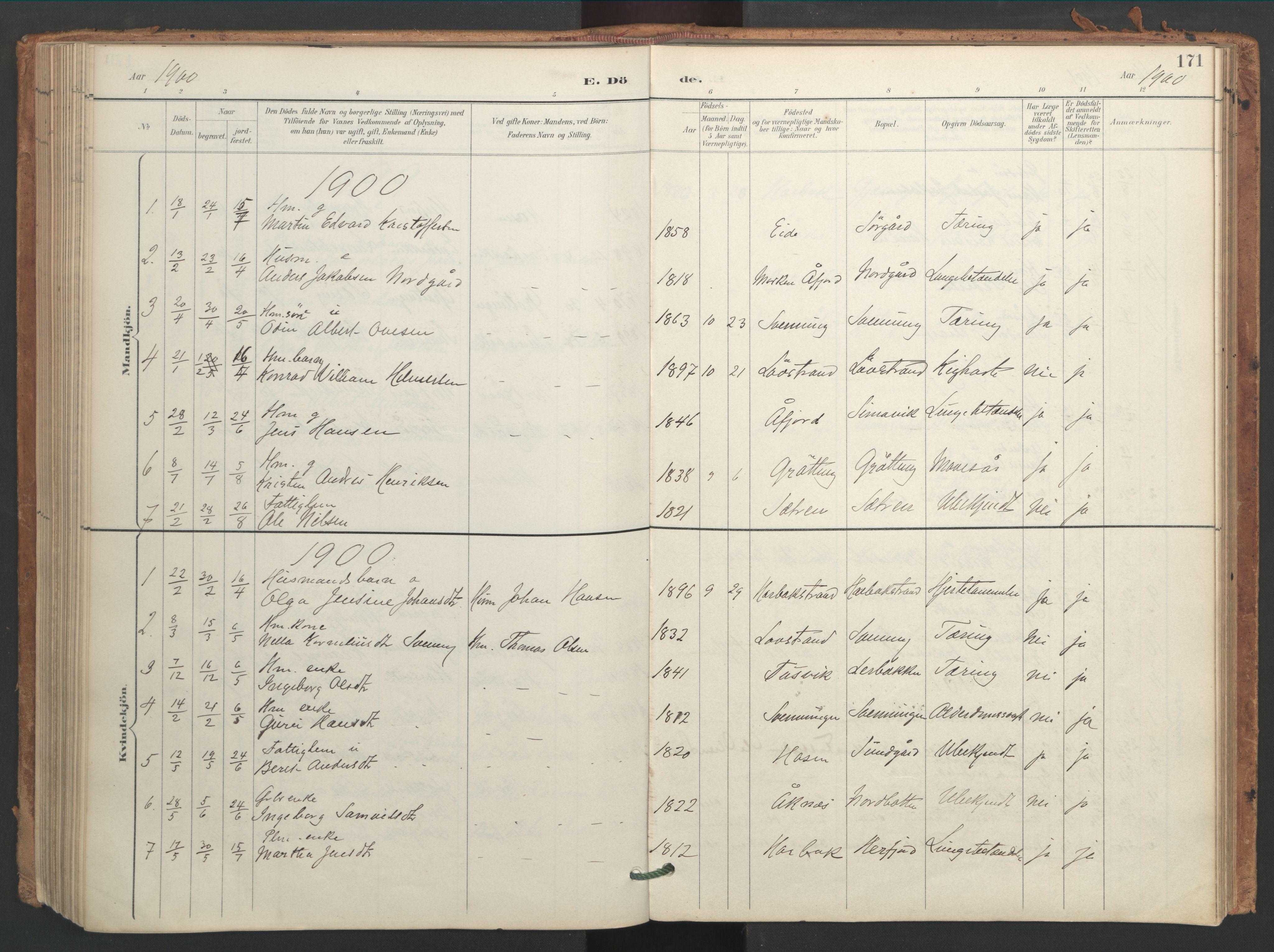 SAT, Ministerialprotokoller, klokkerbøker og fødselsregistre - Sør-Trøndelag, 656/L0693: Ministerialbok nr. 656A02, 1894-1913, s. 171