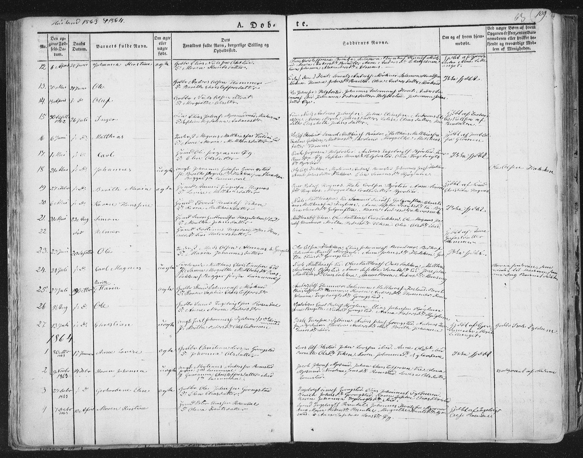 SAT, Ministerialprotokoller, klokkerbøker og fødselsregistre - Nord-Trøndelag, 758/L0513: Ministerialbok nr. 758A02 /2, 1839-1868, s. 63