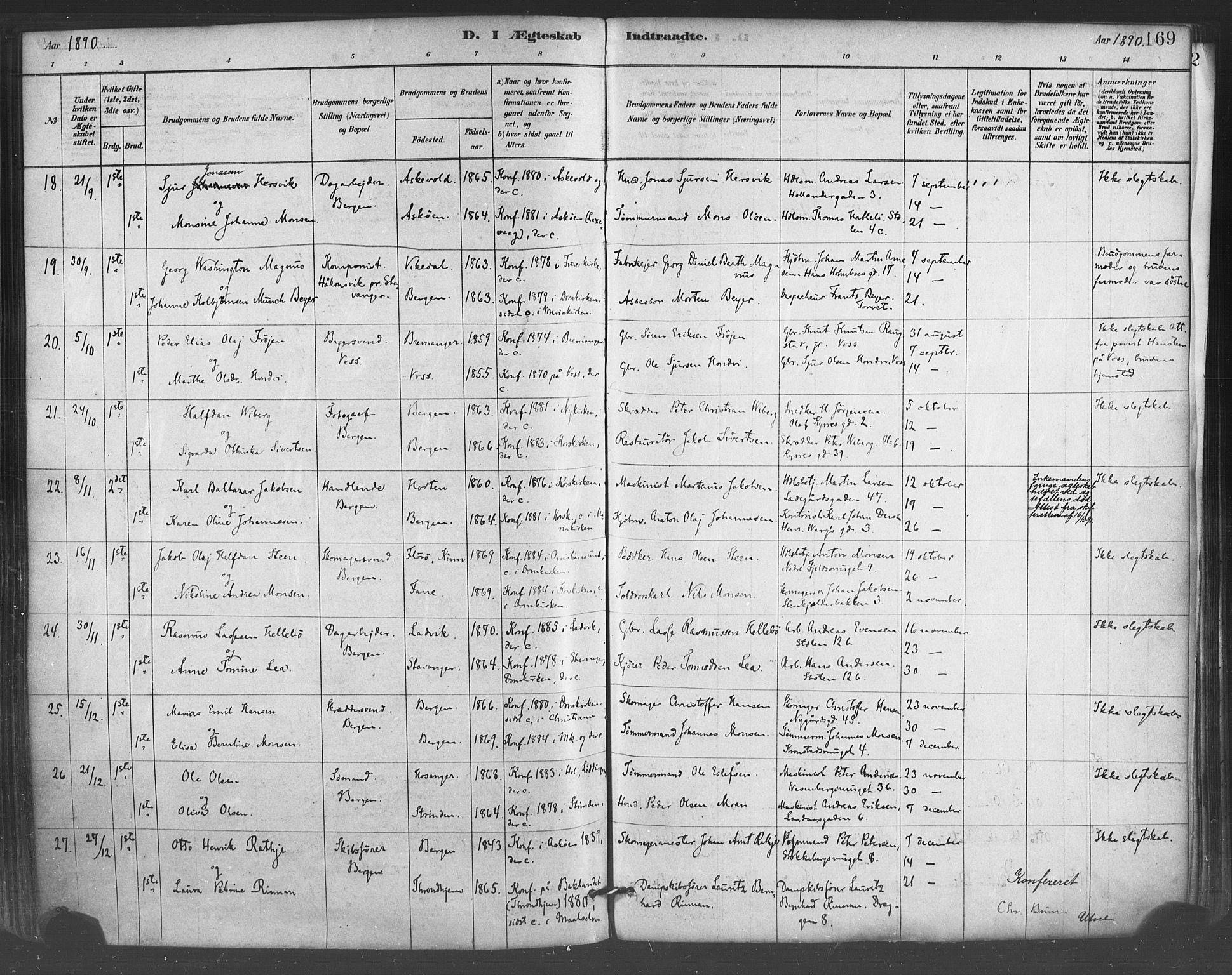 SAB, Mariakirken Sokneprestembete, H/Haa/L0007: Ministerialbok nr. A 7, 1878-1893, s. 169