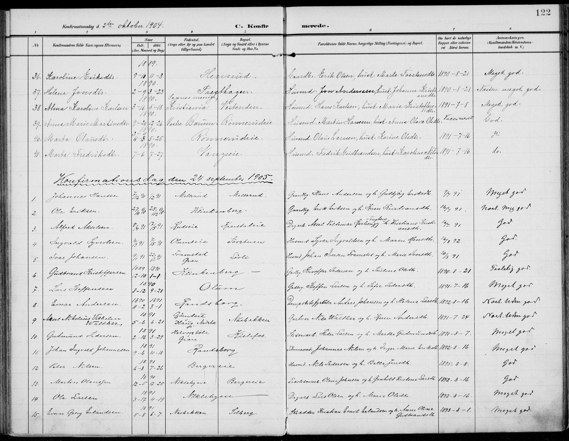 SAH, Jevnaker prestekontor, Ministerialbok nr. 11, 1902-1913, s. 122