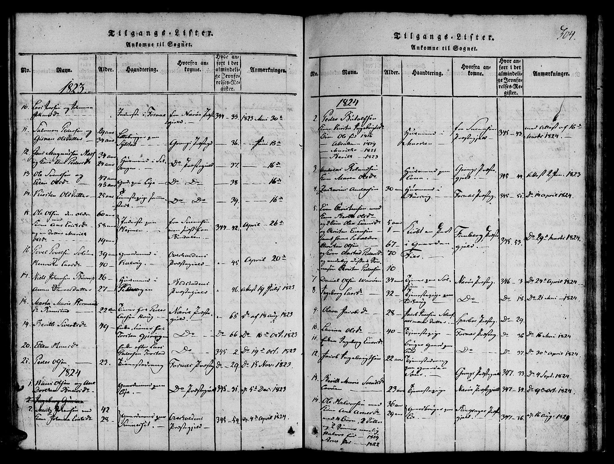 SAT, Ministerialprotokoller, klokkerbøker og fødselsregistre - Nord-Trøndelag, 780/L0636: Ministerialbok nr. 780A03 /1, 1815-1830, s. 304