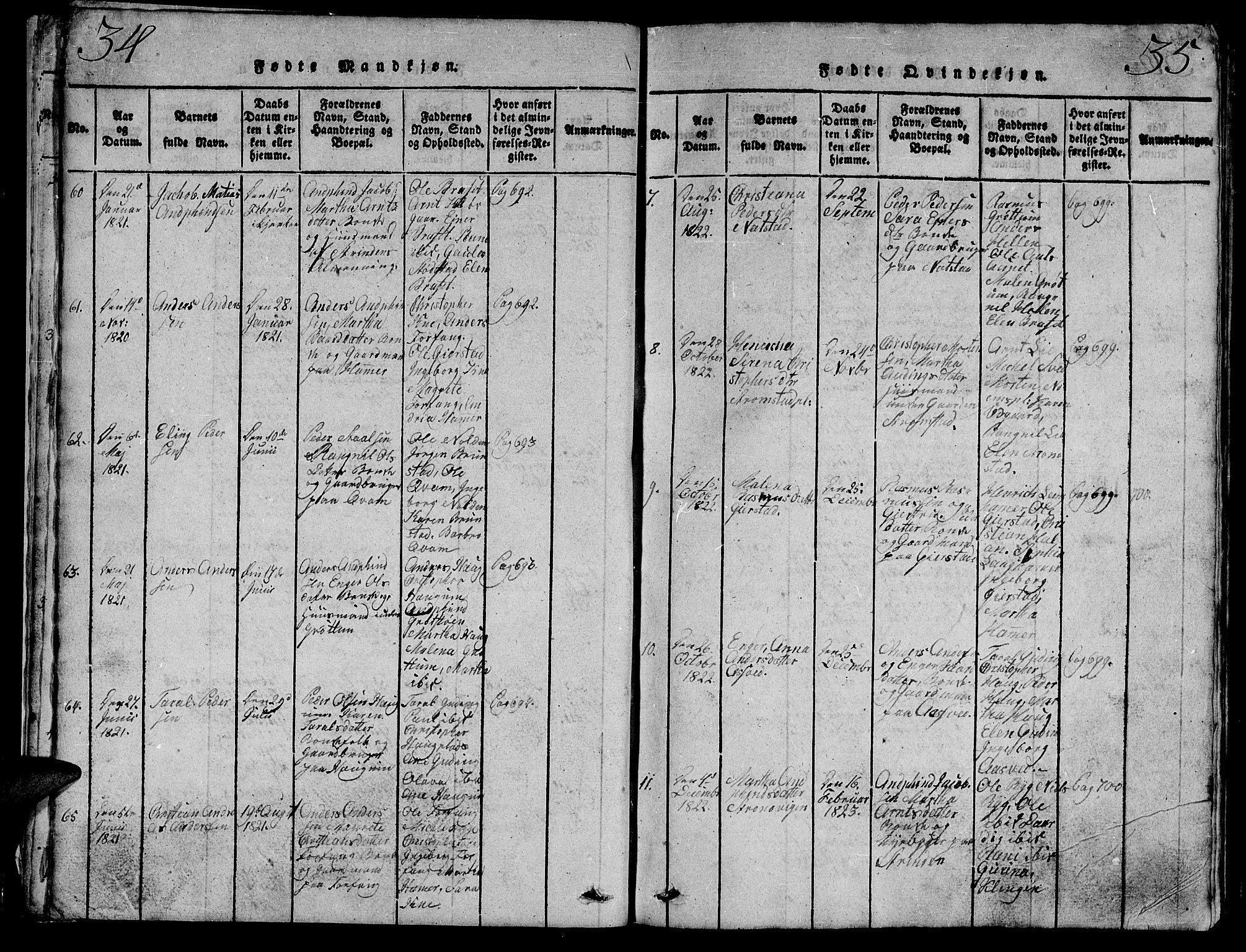 SAT, Ministerialprotokoller, klokkerbøker og fødselsregistre - Nord-Trøndelag, 747/L0459: Klokkerbok nr. 747C01, 1816-1842, s. 34-35