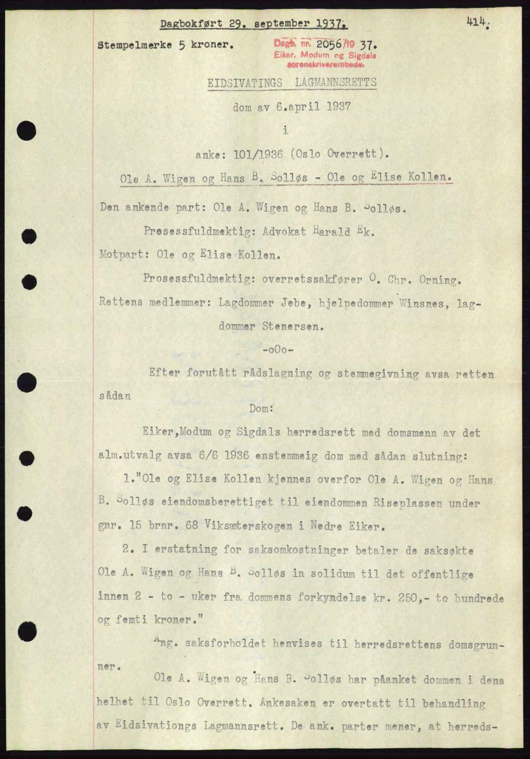 SAKO, Eiker, Modum og Sigdal sorenskriveri, G/Ga/Gab/L0036: Pantebok nr. A6, 1937-1937, Dagboknr: 2056/1937