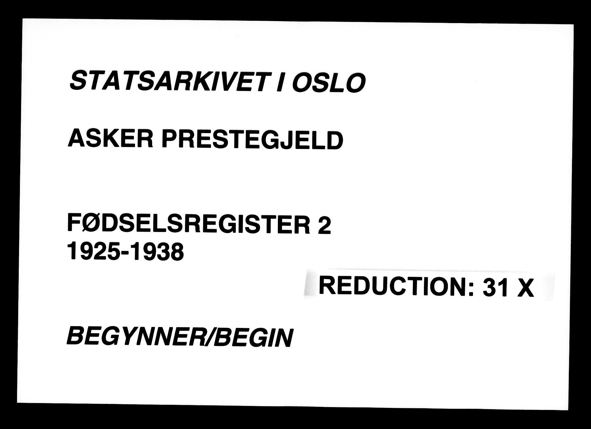 SAO, Asker prestekontor Kirkebøker, J/L0002: Fødselsregister nr. 2, 1925-1938