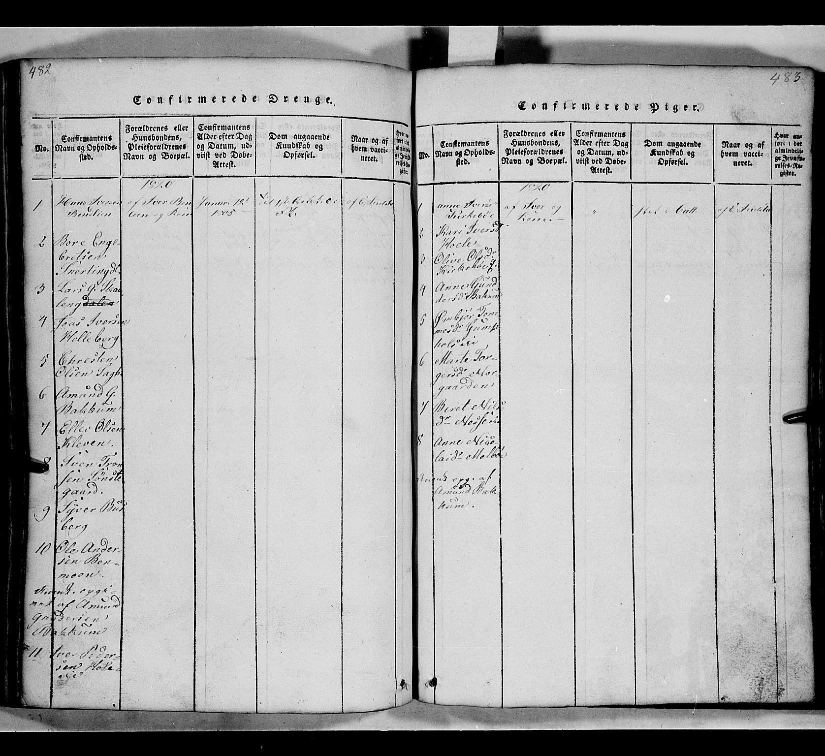 SAH, Gausdal prestekontor, Klokkerbok nr. 2, 1818-1874, s. 482-483