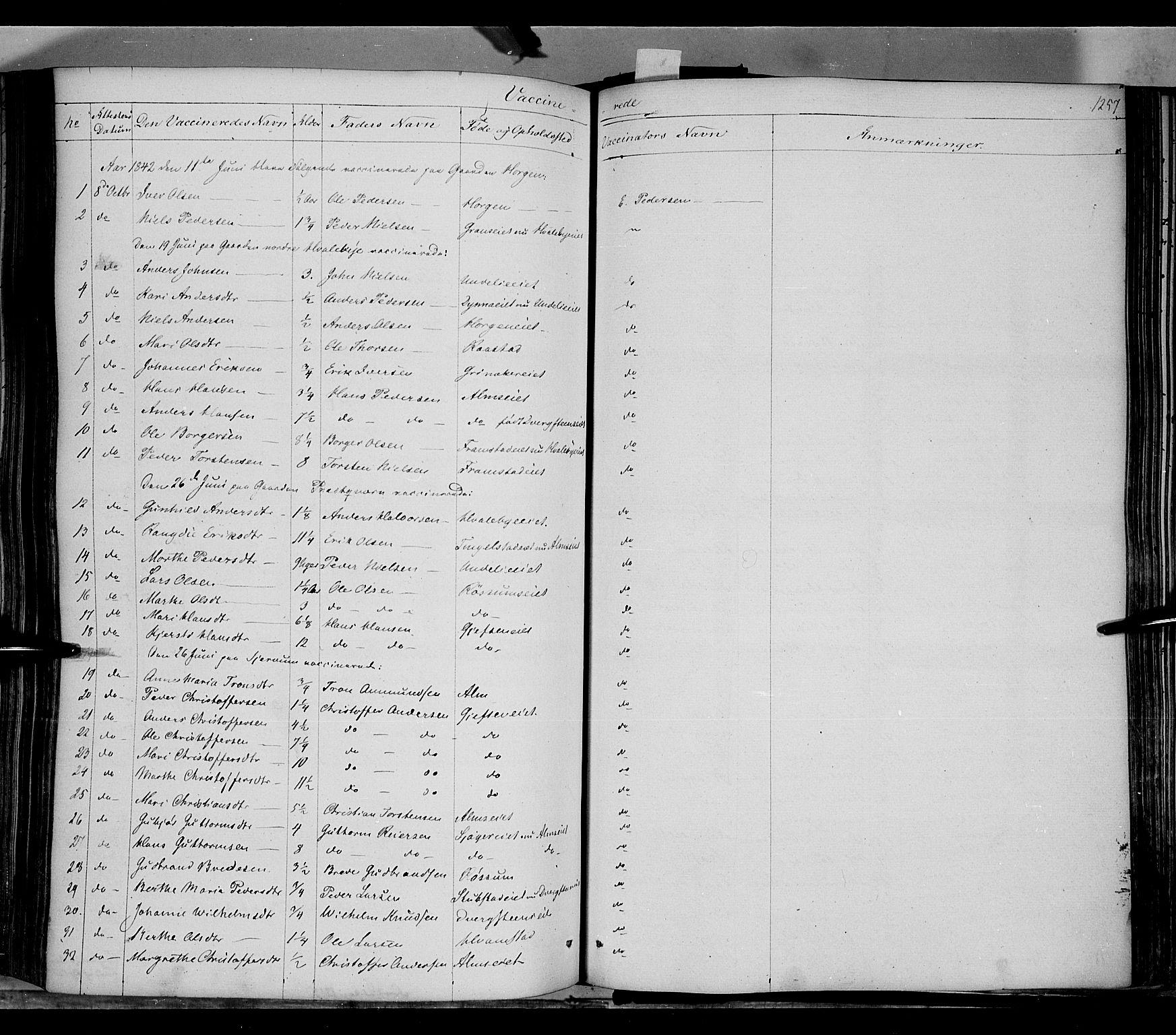 SAH, Gran prestekontor, Ministerialbok nr. 11, 1842-1856, s. 1256-1257