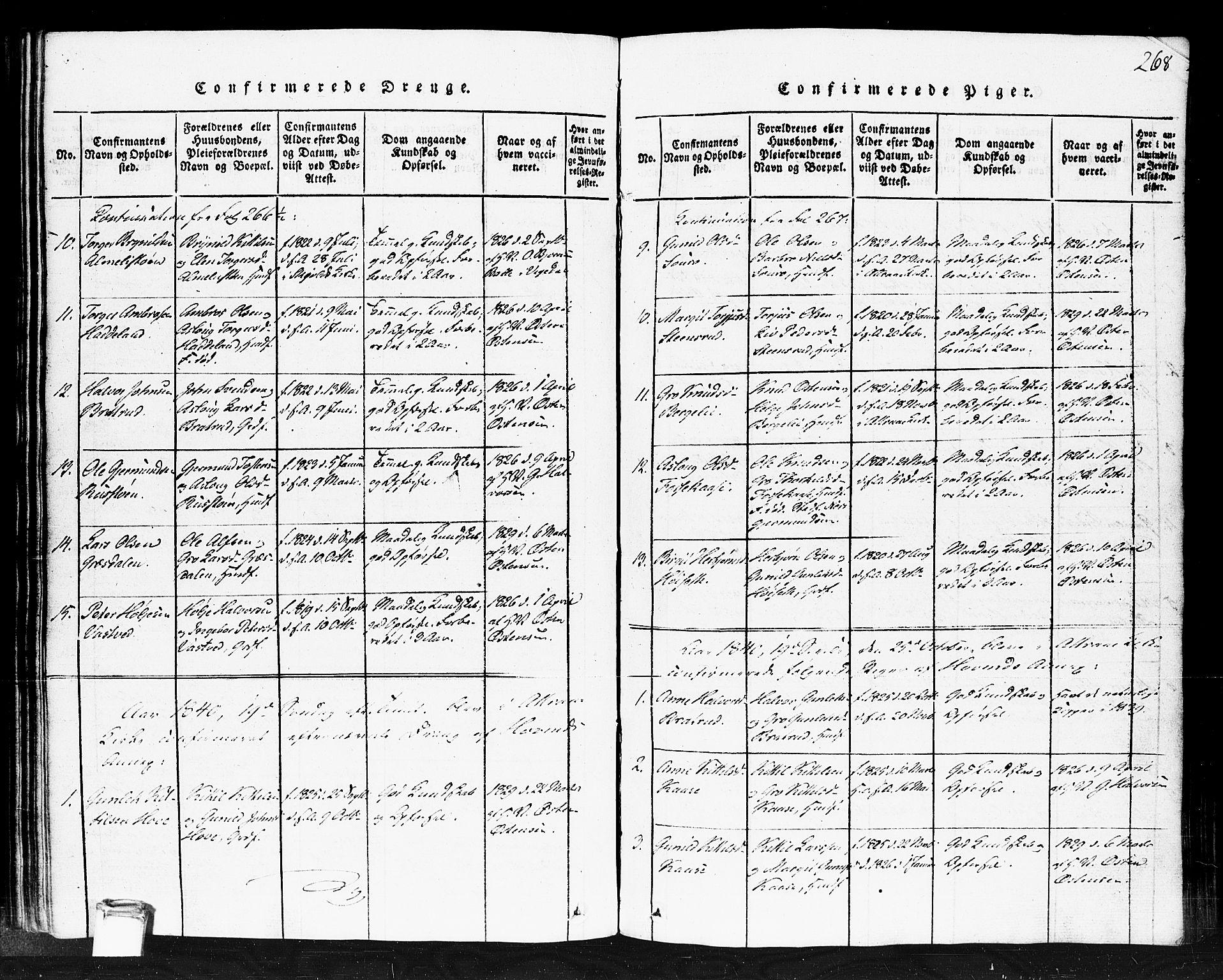 SAKO, Gransherad kirkebøker, F/Fb/L0002: Ministerialbok nr. II 2, 1815-1843, s. 268