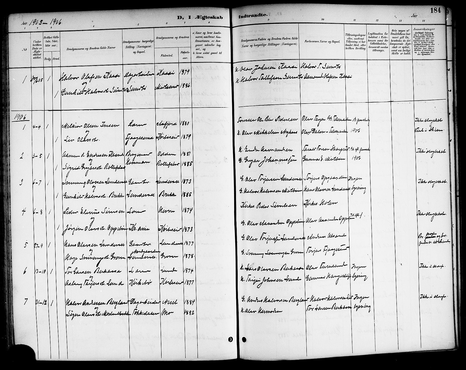 SAKO, Kviteseid kirkebøker, G/Ga/L0002: Klokkerbok nr. I 2, 1893-1918, s. 184