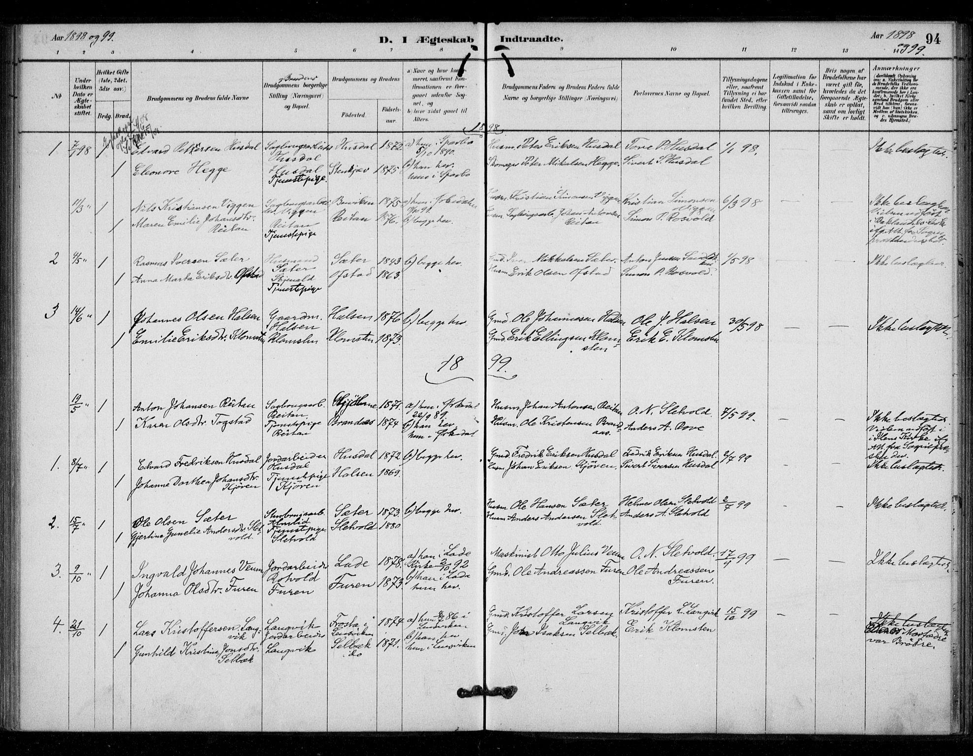 SAT, Ministerialprotokoller, klokkerbøker og fødselsregistre - Sør-Trøndelag, 670/L0836: Ministerialbok nr. 670A01, 1879-1904, s. 94