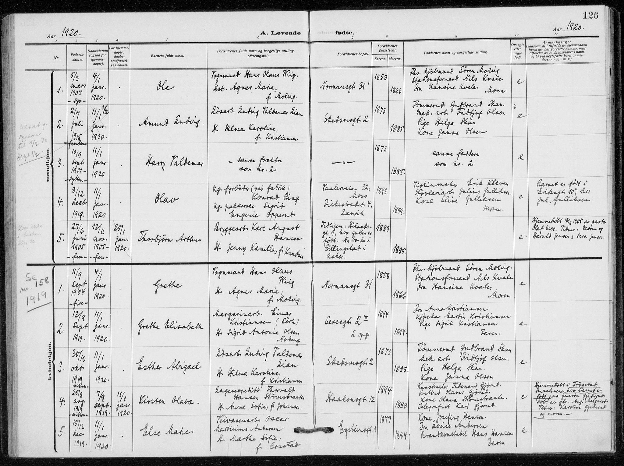 SAO, Kampen prestekontor Kirkebøker, F/Fa/L0012: Ministerialbok nr. I 12, 1916-1921, s. 126