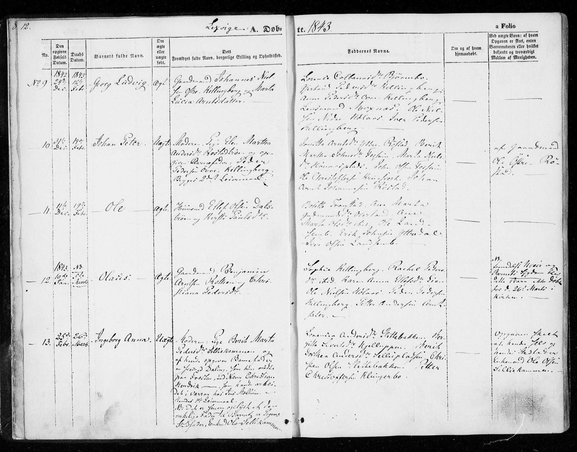SAT, Ministerialprotokoller, klokkerbøker og fødselsregistre - Nord-Trøndelag, 701/L0007: Ministerialbok nr. 701A07 /1, 1842-1854, s. 12
