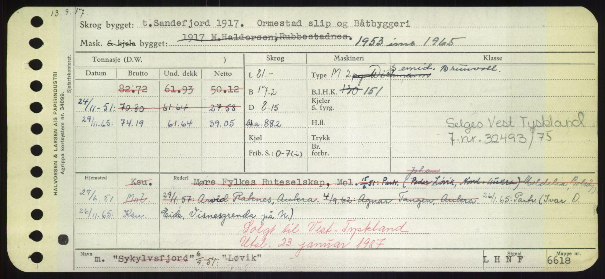 RA, Sjøfartsdirektoratet med forløpere, Skipsmålingen, H/Hd/L0023: Fartøy, Lia-Løv, s. 561