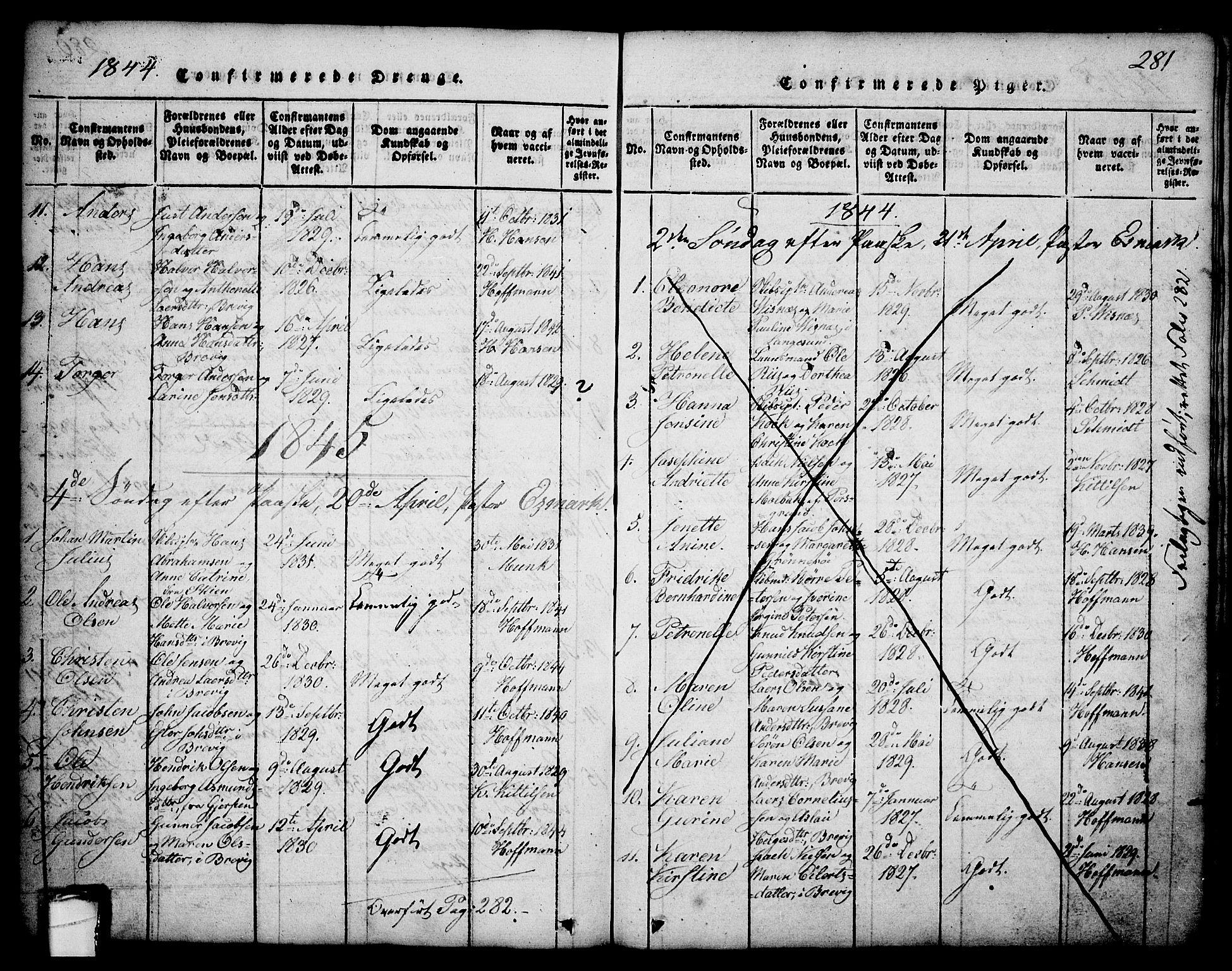 SAKO, Brevik kirkebøker, G/Ga/L0001: Klokkerbok nr. 1, 1814-1845, s. 281