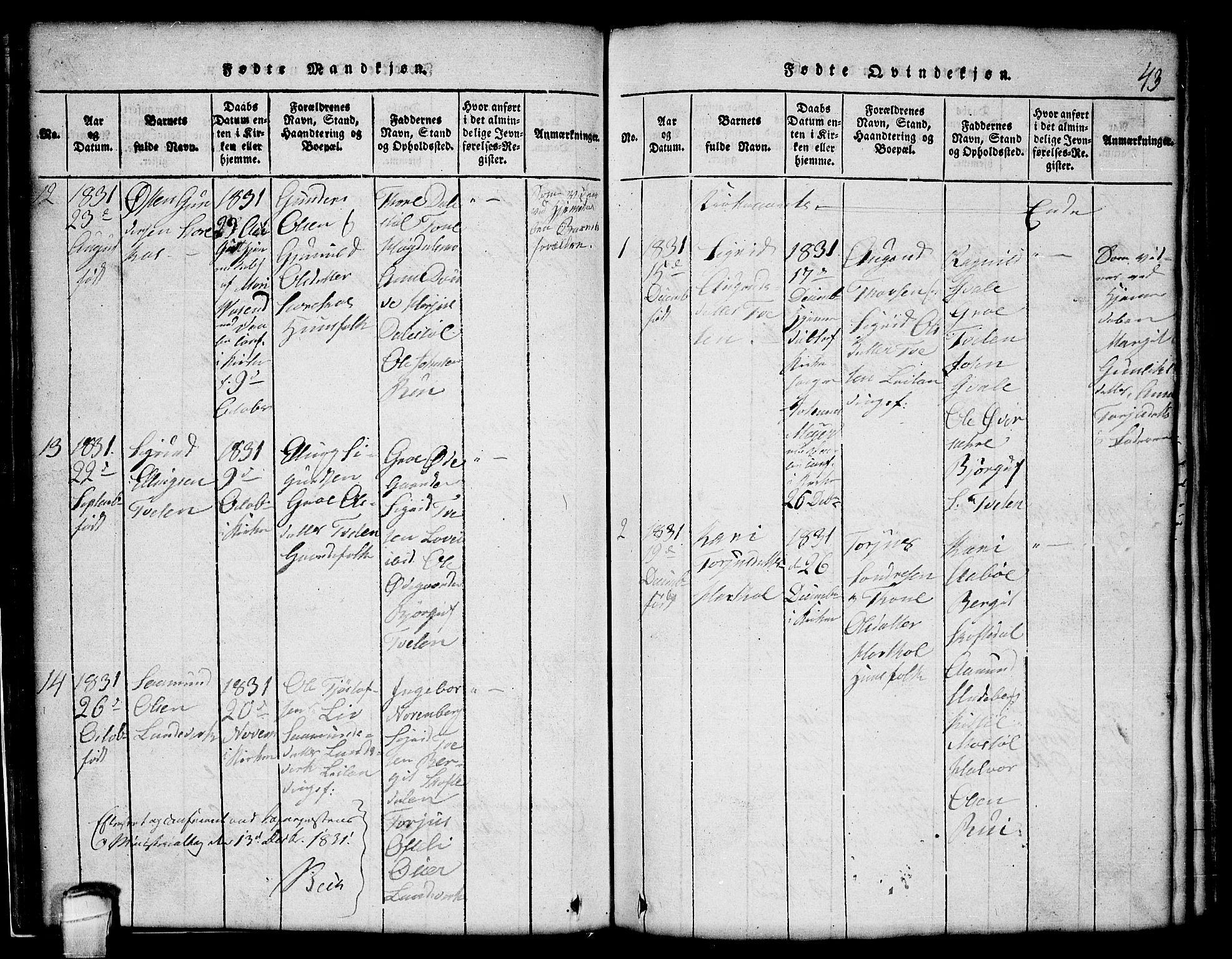 SAKO, Lårdal kirkebøker, G/Gc/L0001: Klokkerbok nr. III 1, 1815-1854, s. 43
