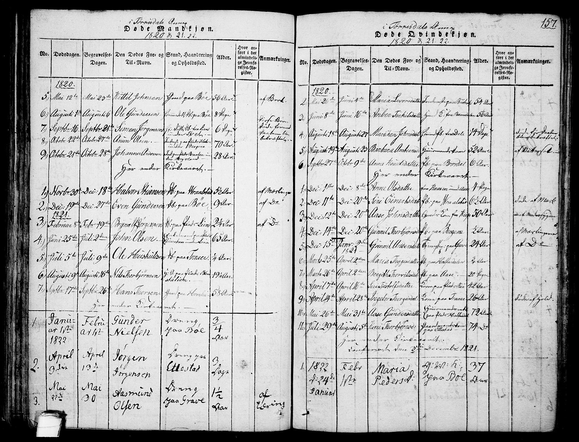 SAKO, Drangedal kirkebøker, F/Fa/L0005: Ministerialbok nr. 5 /2, 1814-1831, s. 157