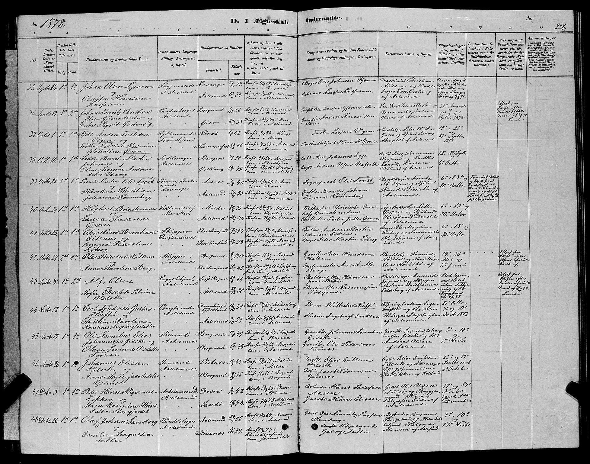 SAT, Ministerialprotokoller, klokkerbøker og fødselsregistre - Møre og Romsdal, 529/L0466: Klokkerbok nr. 529C03, 1878-1888, s. 228
