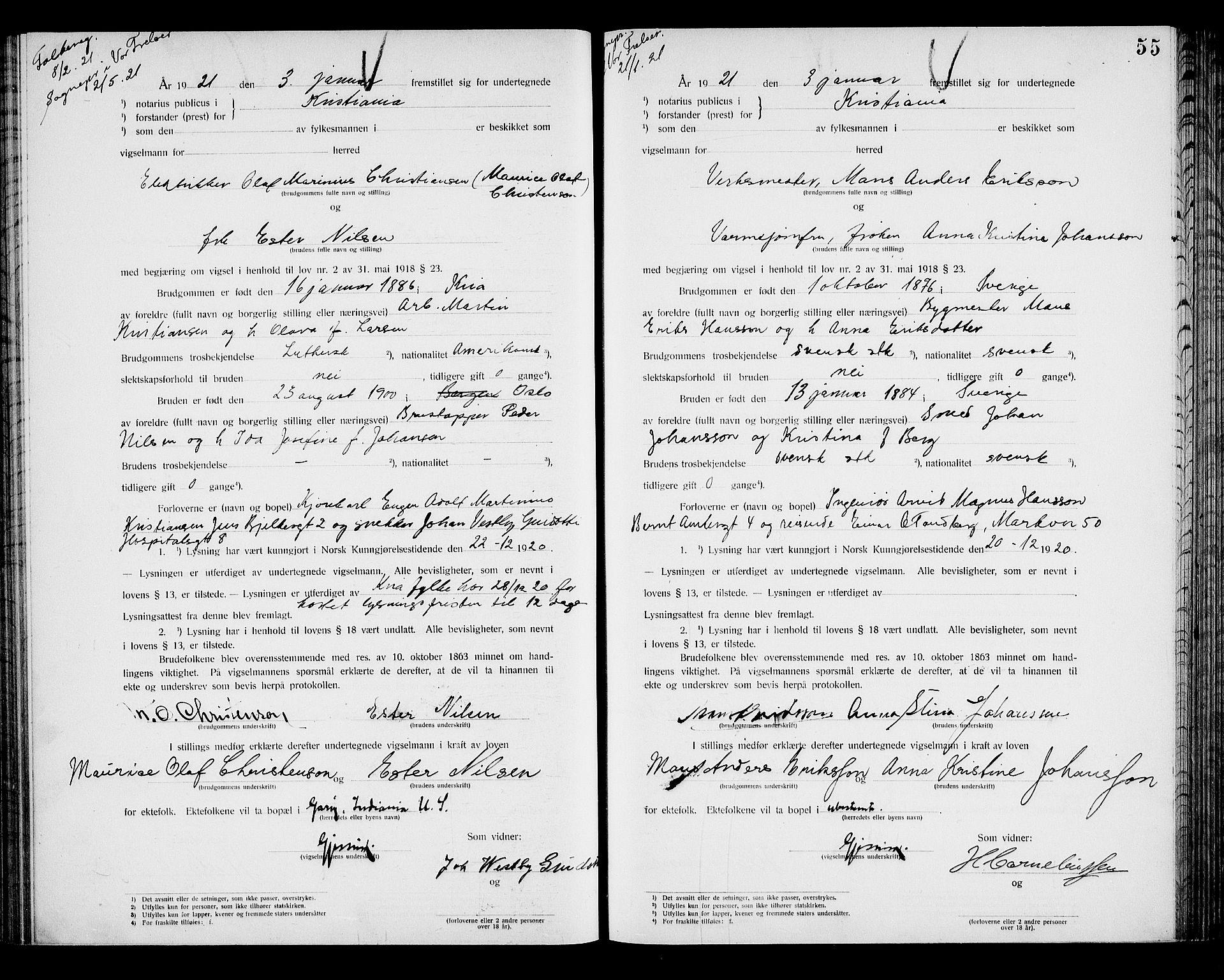 SAO, Oslo byfogd avd. I, L/Lb/Lbb/L0014: Notarialprotokoll, rekke II: Vigsler, 1920-1921, s. 54b-55a