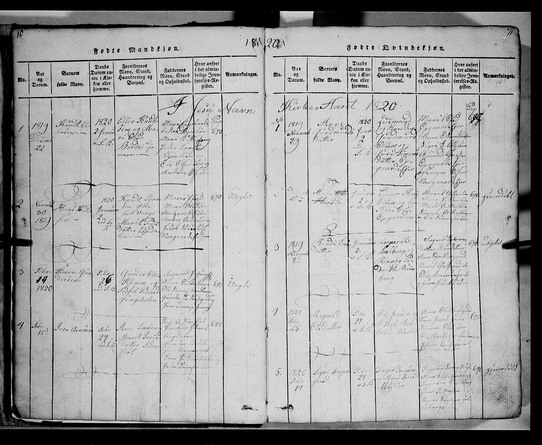 SAH, Gausdal prestekontor, Klokkerbok nr. 2, 1818-1874, s. 10-11