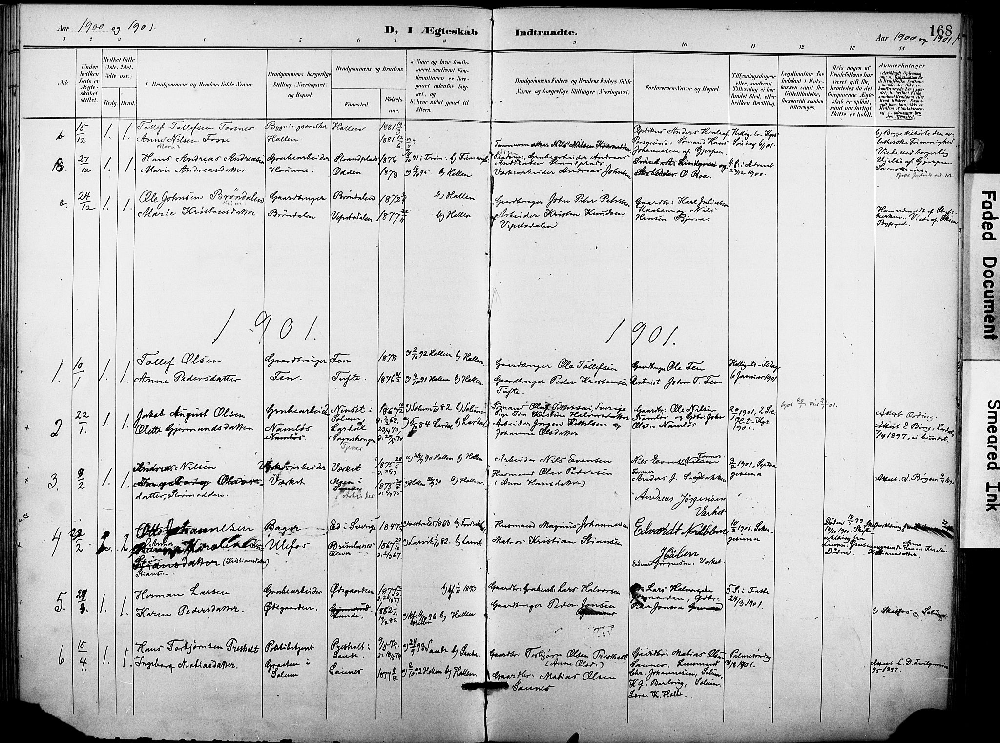 SAKO, Holla kirkebøker, F/Fa/L0010: Ministerialbok nr. 10, 1897-1907, s. 168