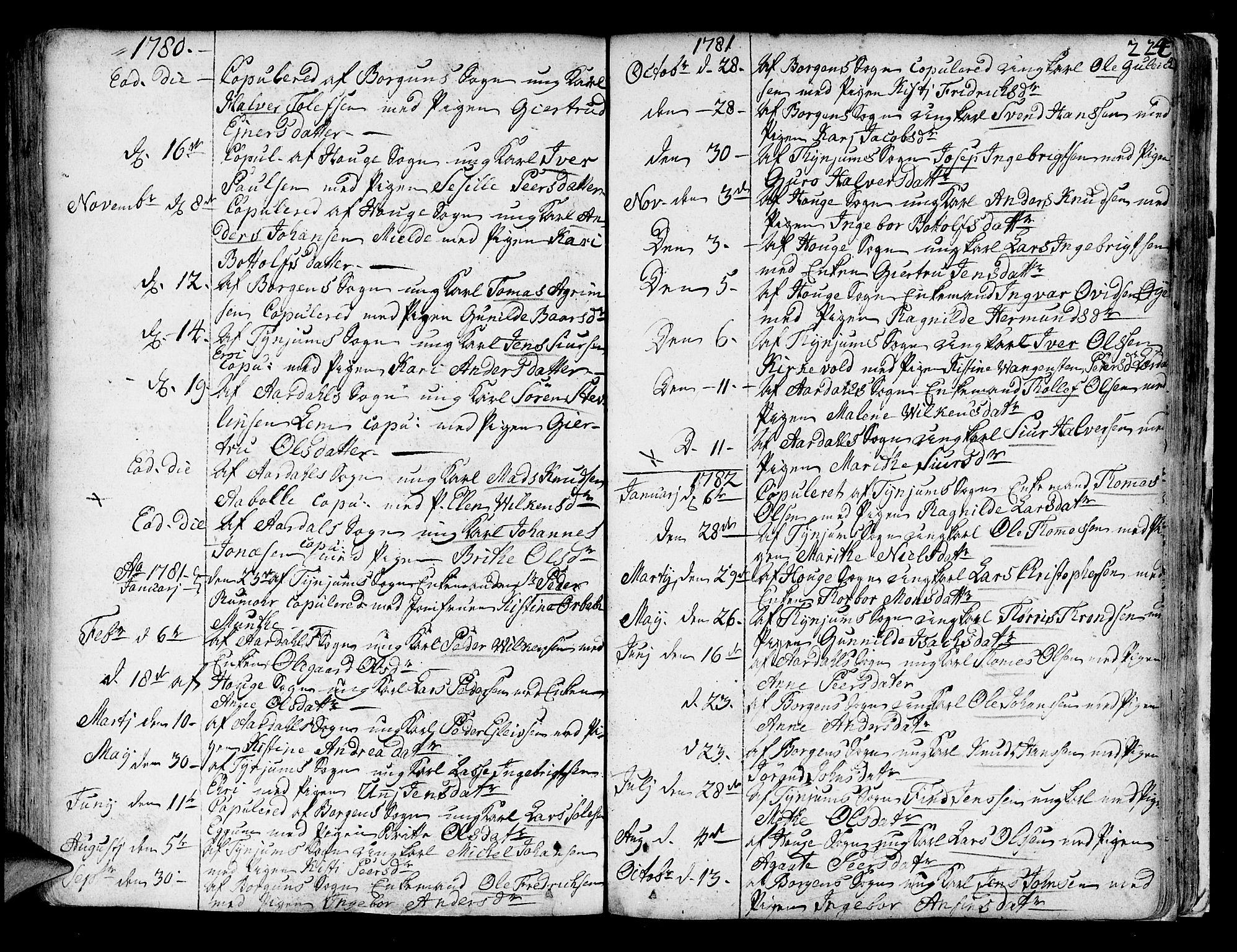 SAB, Lærdal sokneprestembete, Ministerialbok nr. A 2, 1752-1782, s. 224