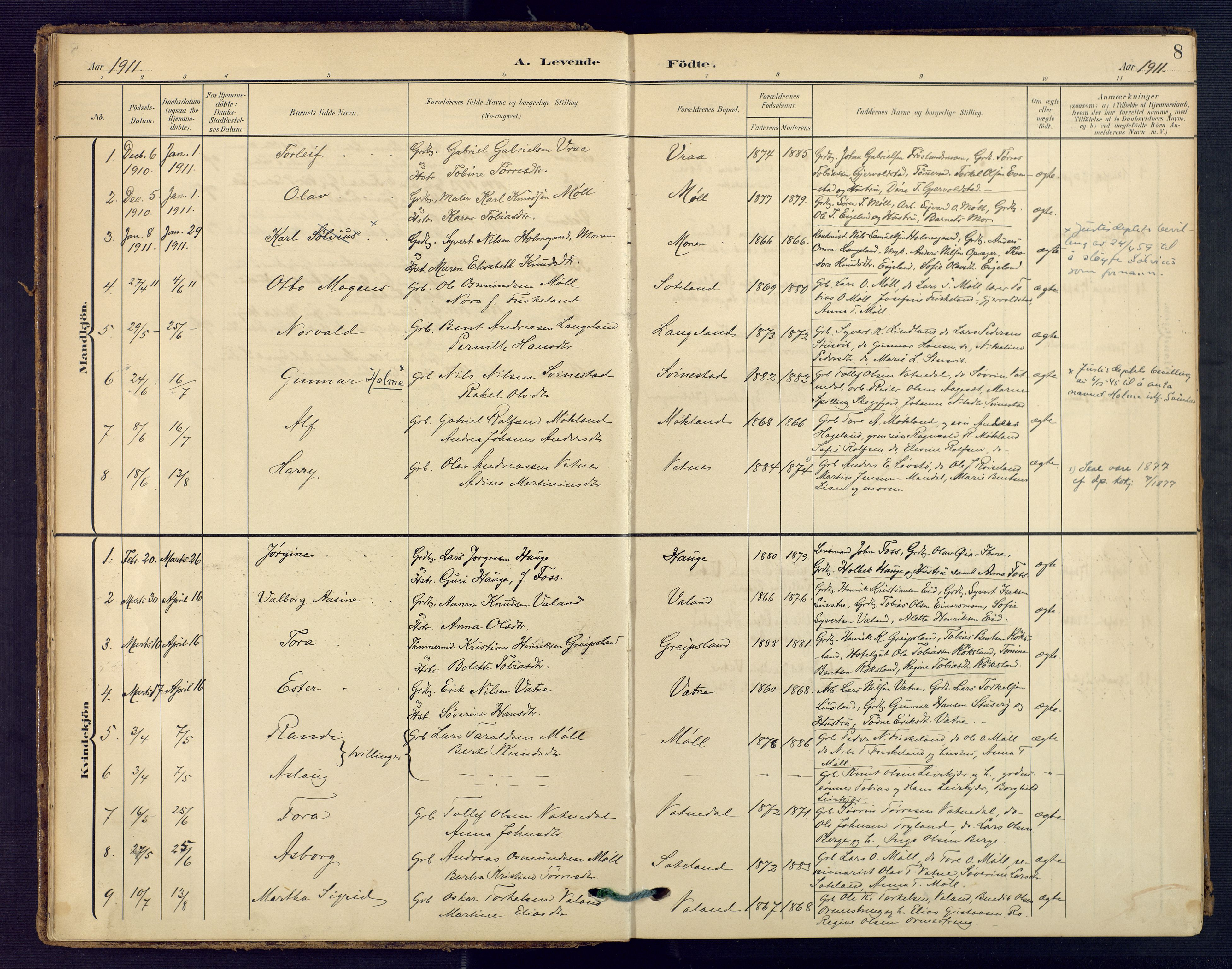 SAK, Holum sokneprestkontor, F/Fa/Faa/L0008: Ministerialbok nr. A 8, 1908-1929, s. 8
