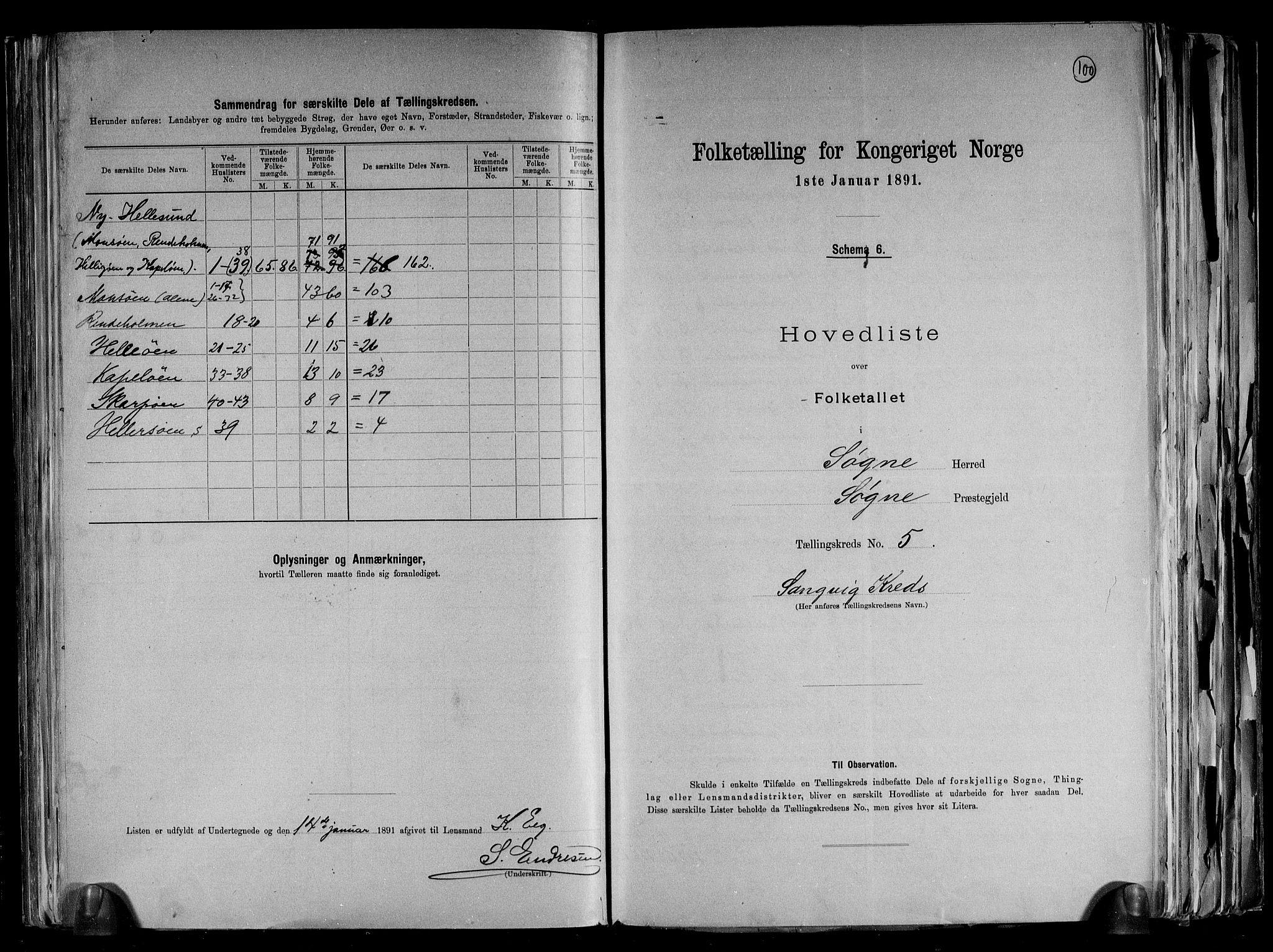 RA, Folketelling 1891 for 1018 Søgne herred, 1891, s. 15