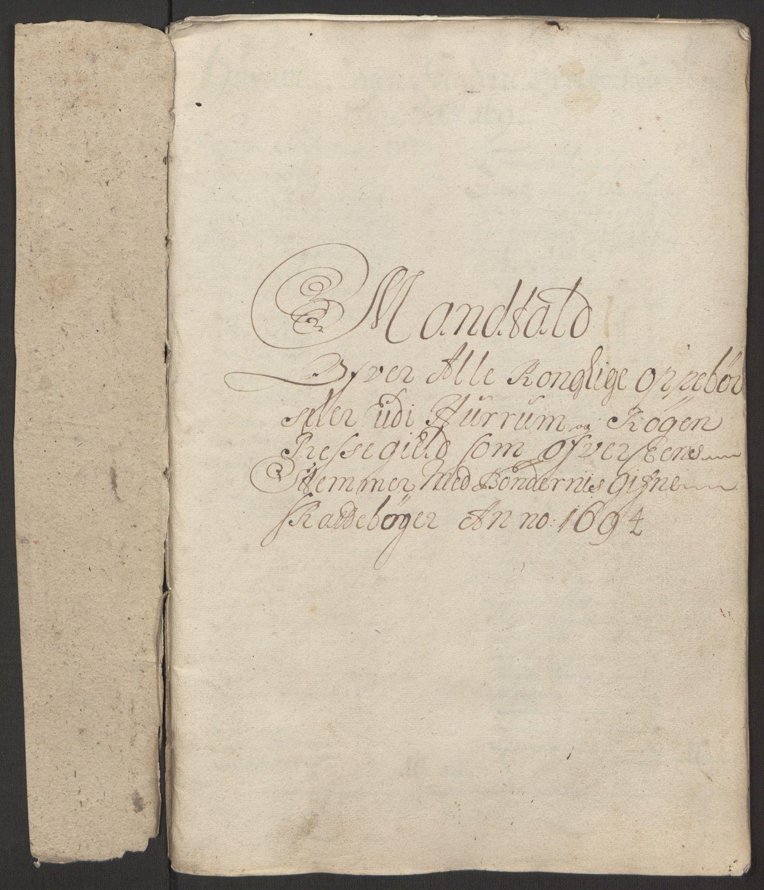 RA, Rentekammeret inntil 1814, Reviderte regnskaper, Fogderegnskap, R30/L1694: Fogderegnskap Hurum, Røyken, Eiker og Lier, 1694-1696, s. 33