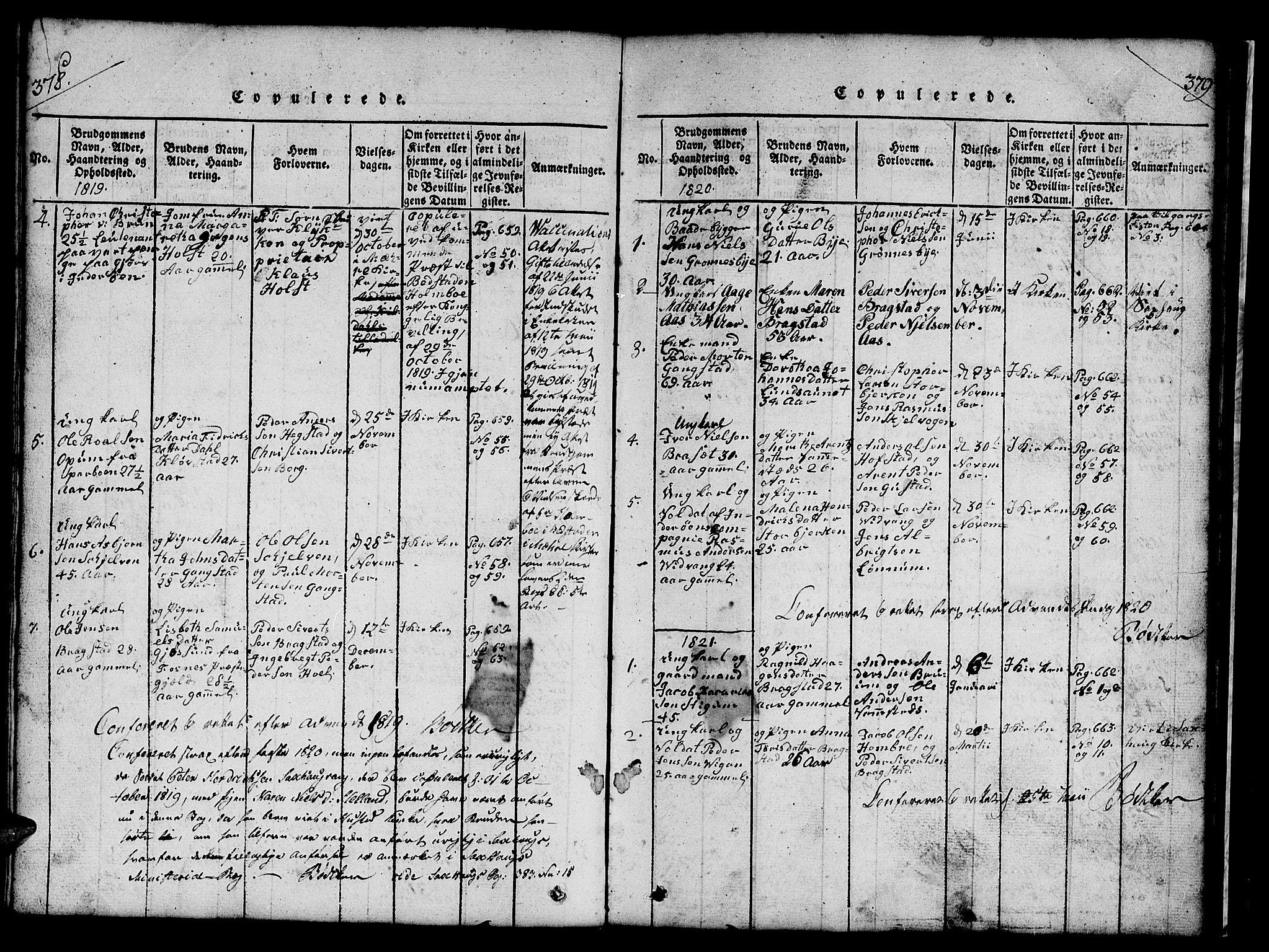 SAT, Ministerialprotokoller, klokkerbøker og fødselsregistre - Nord-Trøndelag, 732/L0317: Klokkerbok nr. 732C01, 1816-1881, s. 378-379