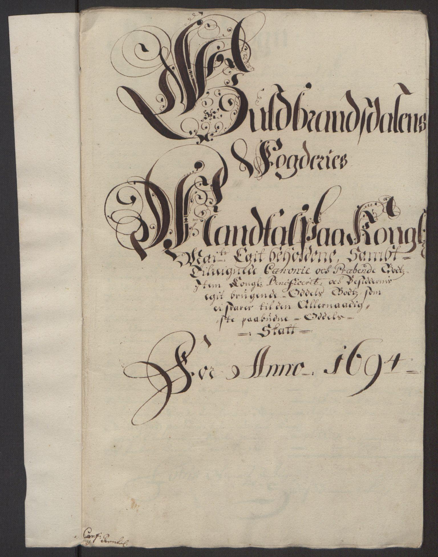 RA, Rentekammeret inntil 1814, Reviderte regnskaper, Fogderegnskap, R17/L1168: Fogderegnskap Gudbrandsdal, 1694, s. 307