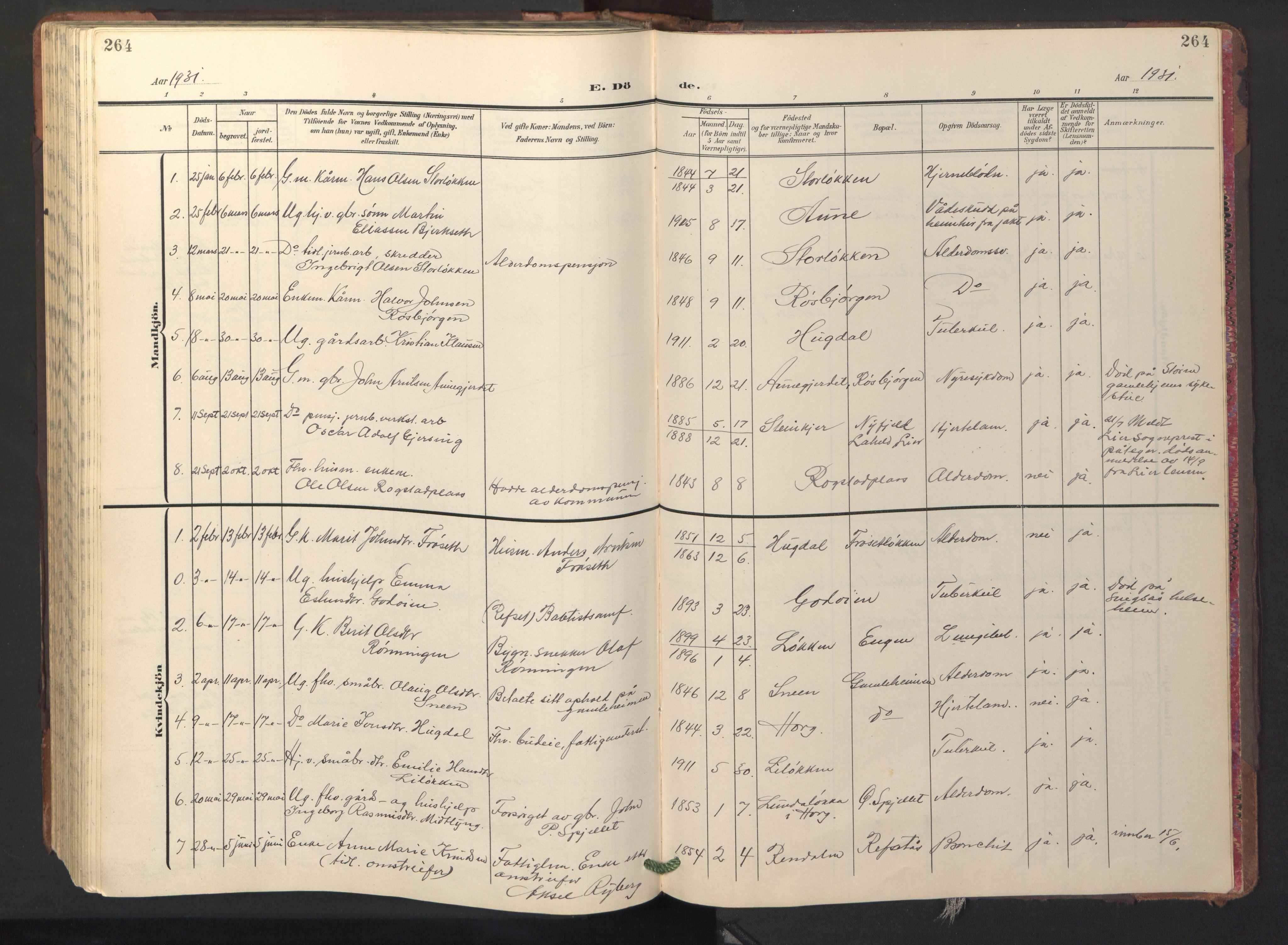 SAT, Ministerialprotokoller, klokkerbøker og fødselsregistre - Sør-Trøndelag, 687/L1019: Klokkerbok nr. 687C03, 1904-1931, s. 264
