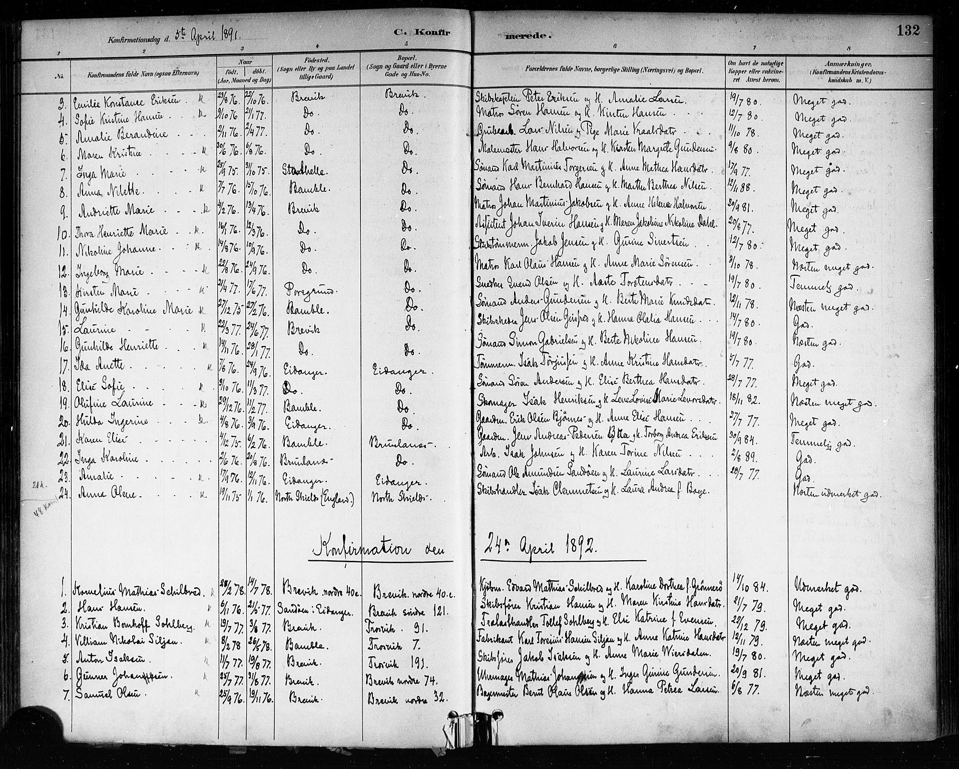 SAKO, Brevik kirkebøker, F/Fa/L0007: Ministerialbok nr. 7, 1882-1900, s. 132