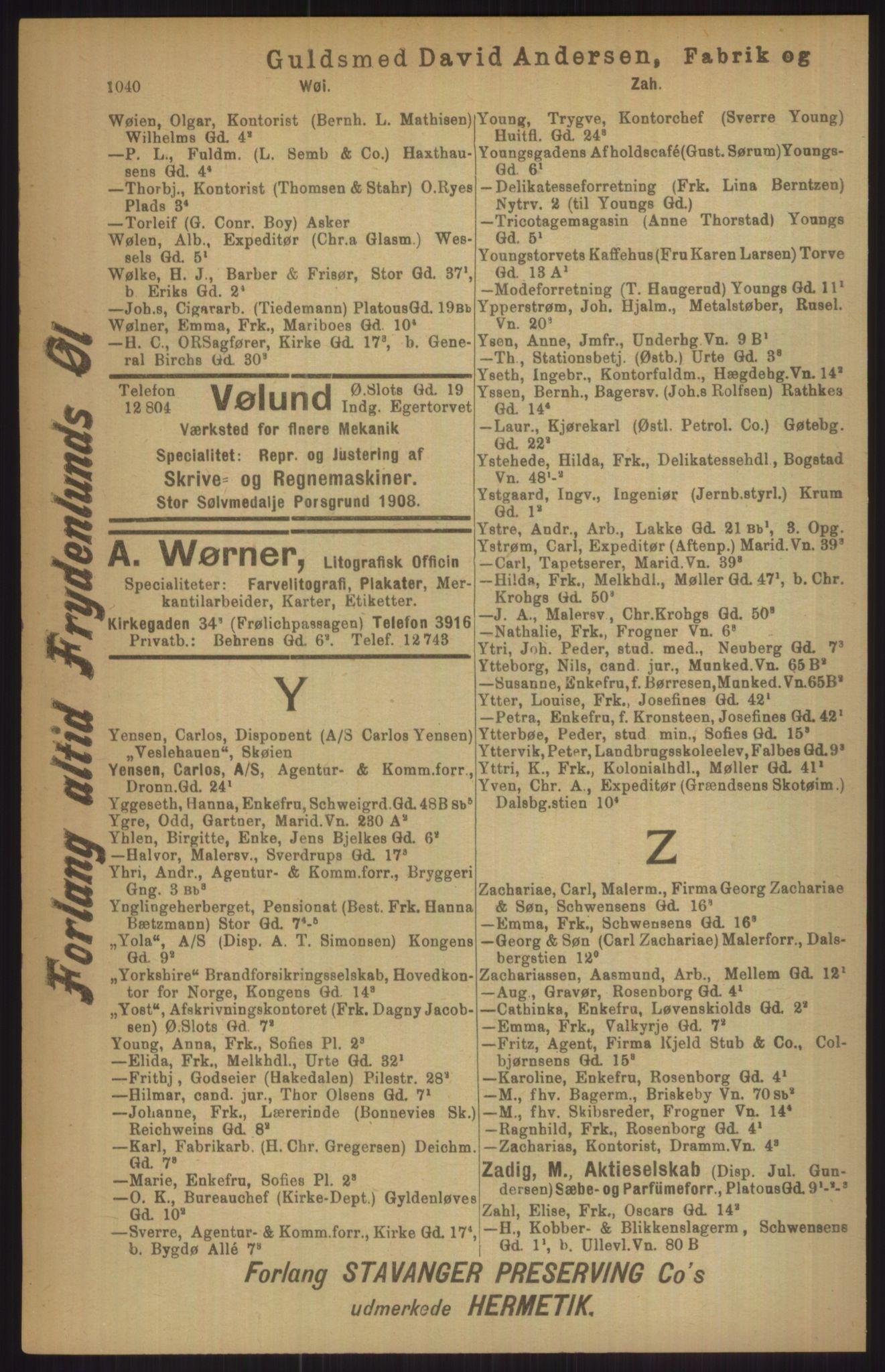 RA, Kristiania adressebok (publikasjon)*, 1911, s. 1040