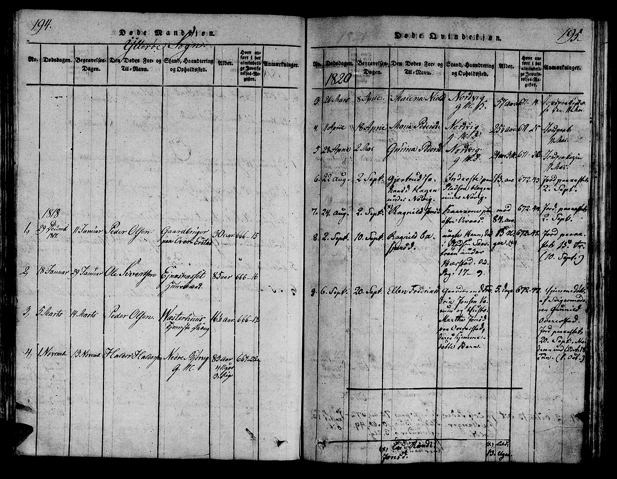 SAT, Ministerialprotokoller, klokkerbøker og fødselsregistre - Nord-Trøndelag, 722/L0217: Ministerialbok nr. 722A04, 1817-1842, s. 194-195