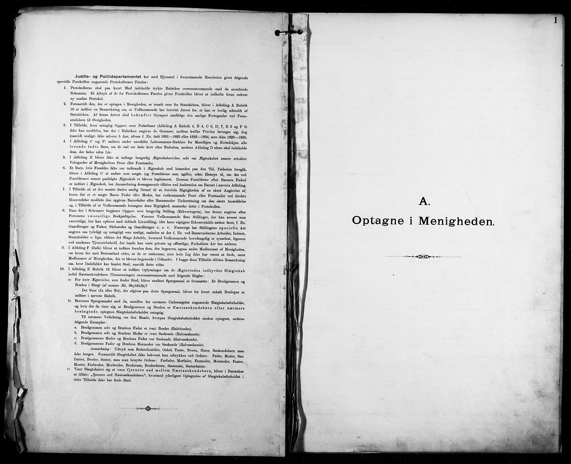 SAO, Kristi menighet Fredrikstad , A/L0001: Dissenterprotokoll nr. 1, 1893-1914, s. 1