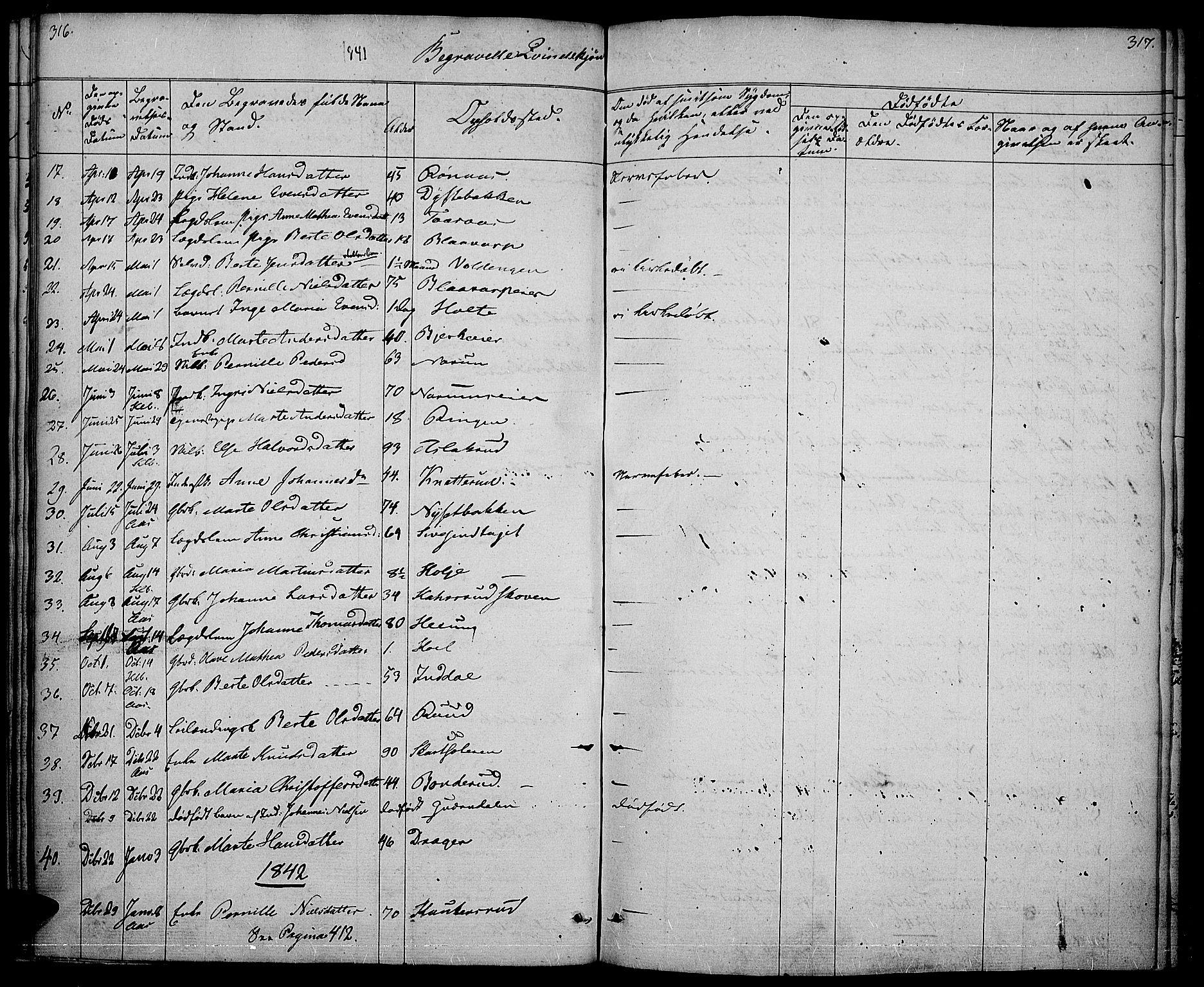 SAH, Vestre Toten prestekontor, H/Ha/Haa/L0003: Ministerialbok nr. 3, 1836-1843, s. 316-317