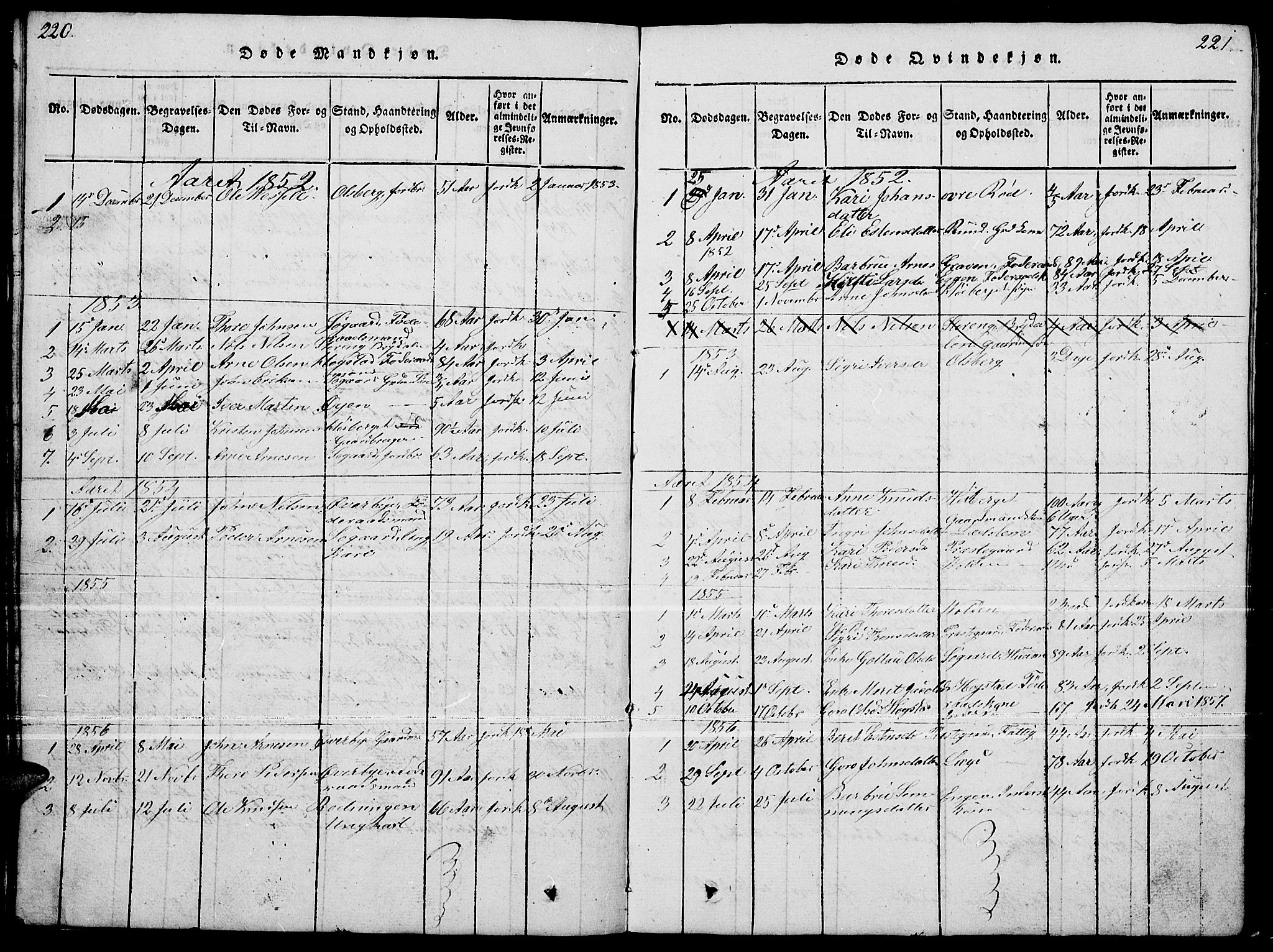 SAH, Tynset prestekontor, Klokkerbok nr. 4, 1814-1879, s. 220-221