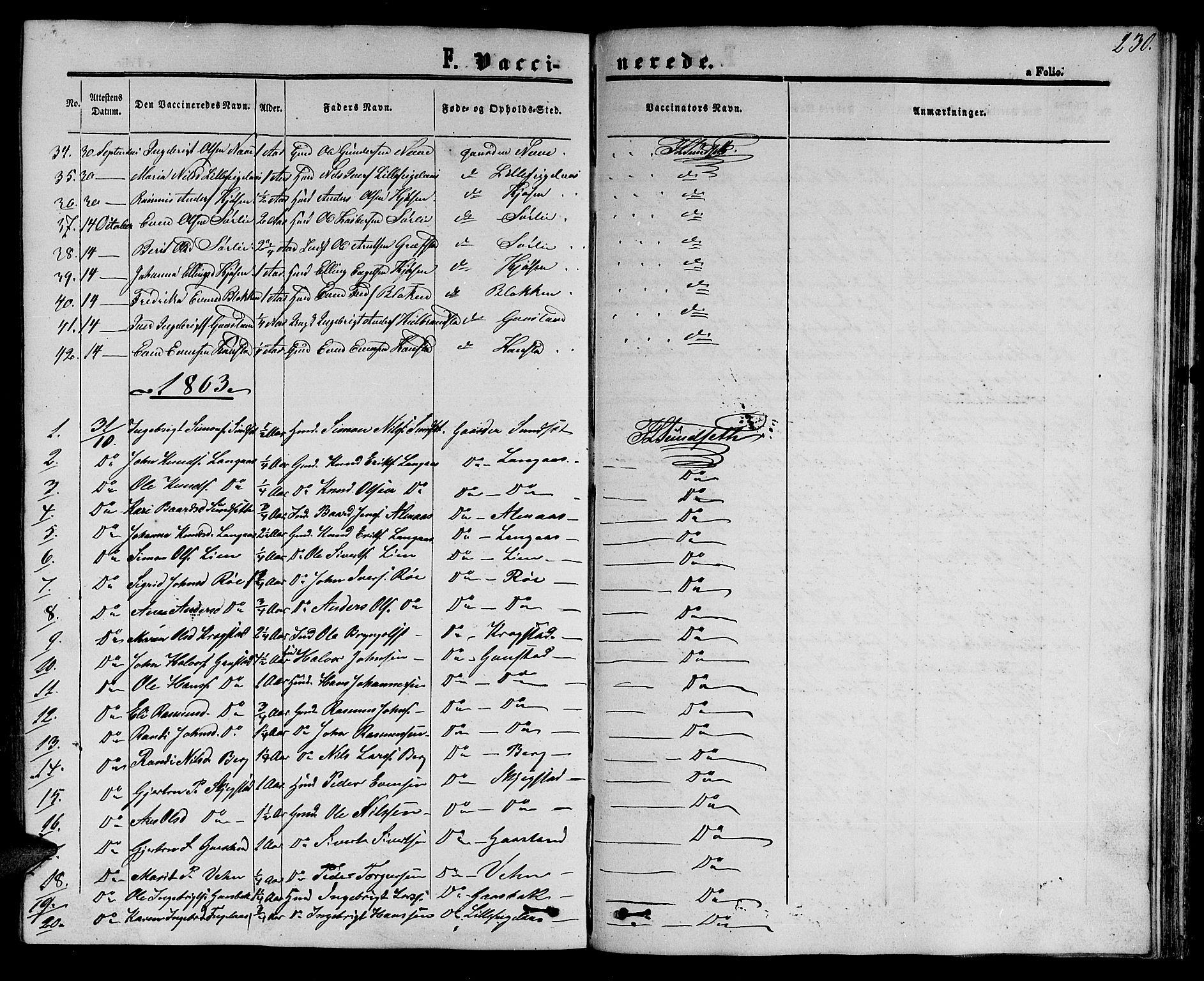 SAT, Ministerialprotokoller, klokkerbøker og fødselsregistre - Sør-Trøndelag, 694/L1131: Klokkerbok nr. 694C03, 1858-1886, s. 230