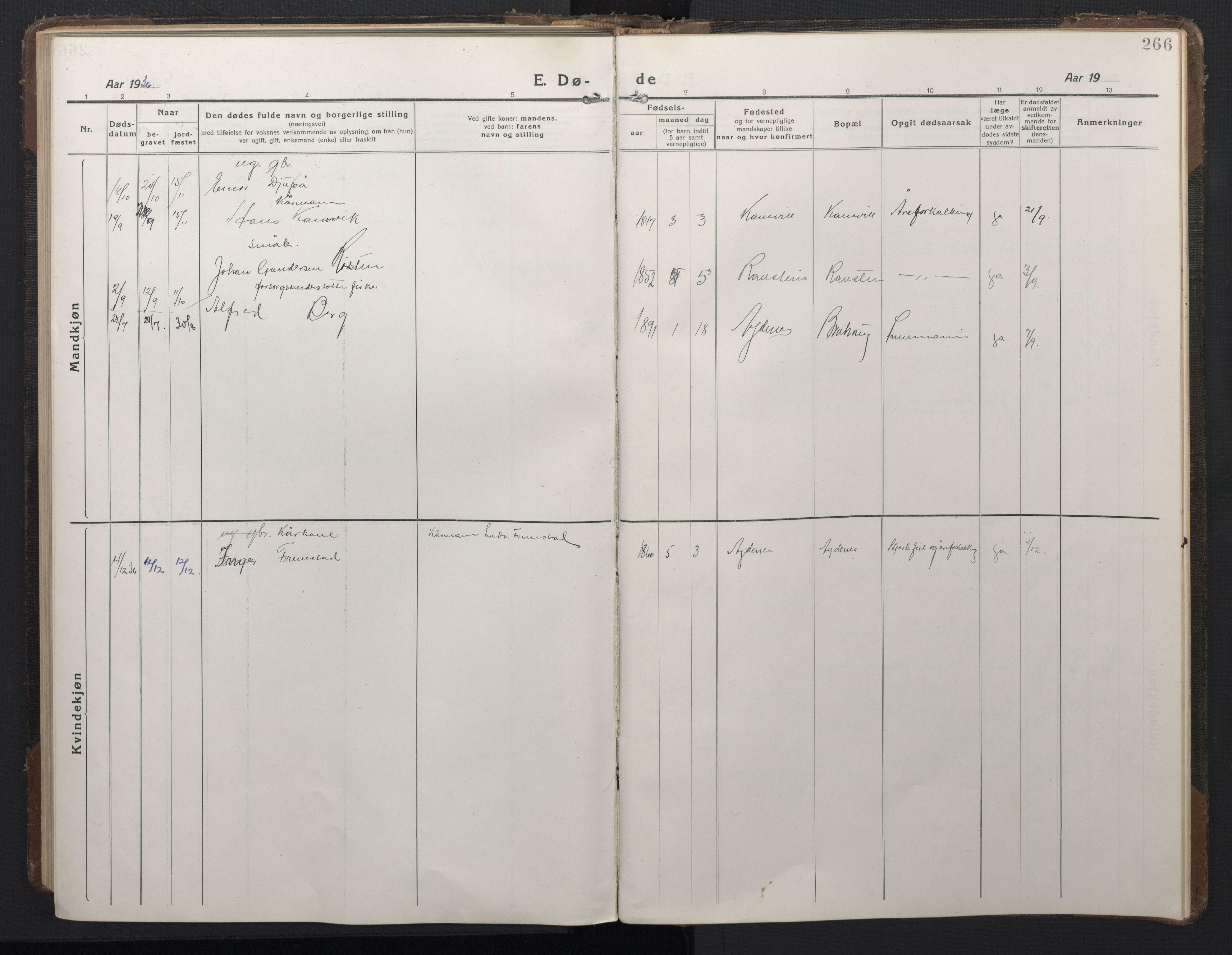 SAT, Ministerialprotokoller, klokkerbøker og fødselsregistre - Sør-Trøndelag, 662/L0758: Klokkerbok nr. 662C03, 1918-1948, s. 266