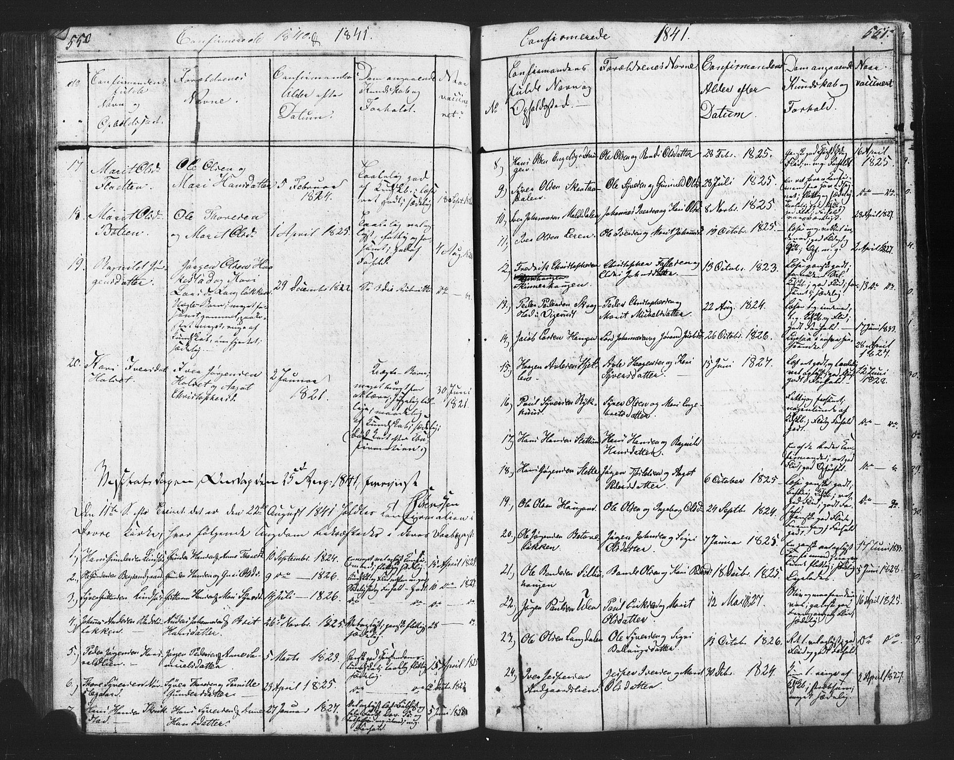 SAH, Lesja prestekontor, Klokkerbok nr. 2, 1832-1850, s. 550-551