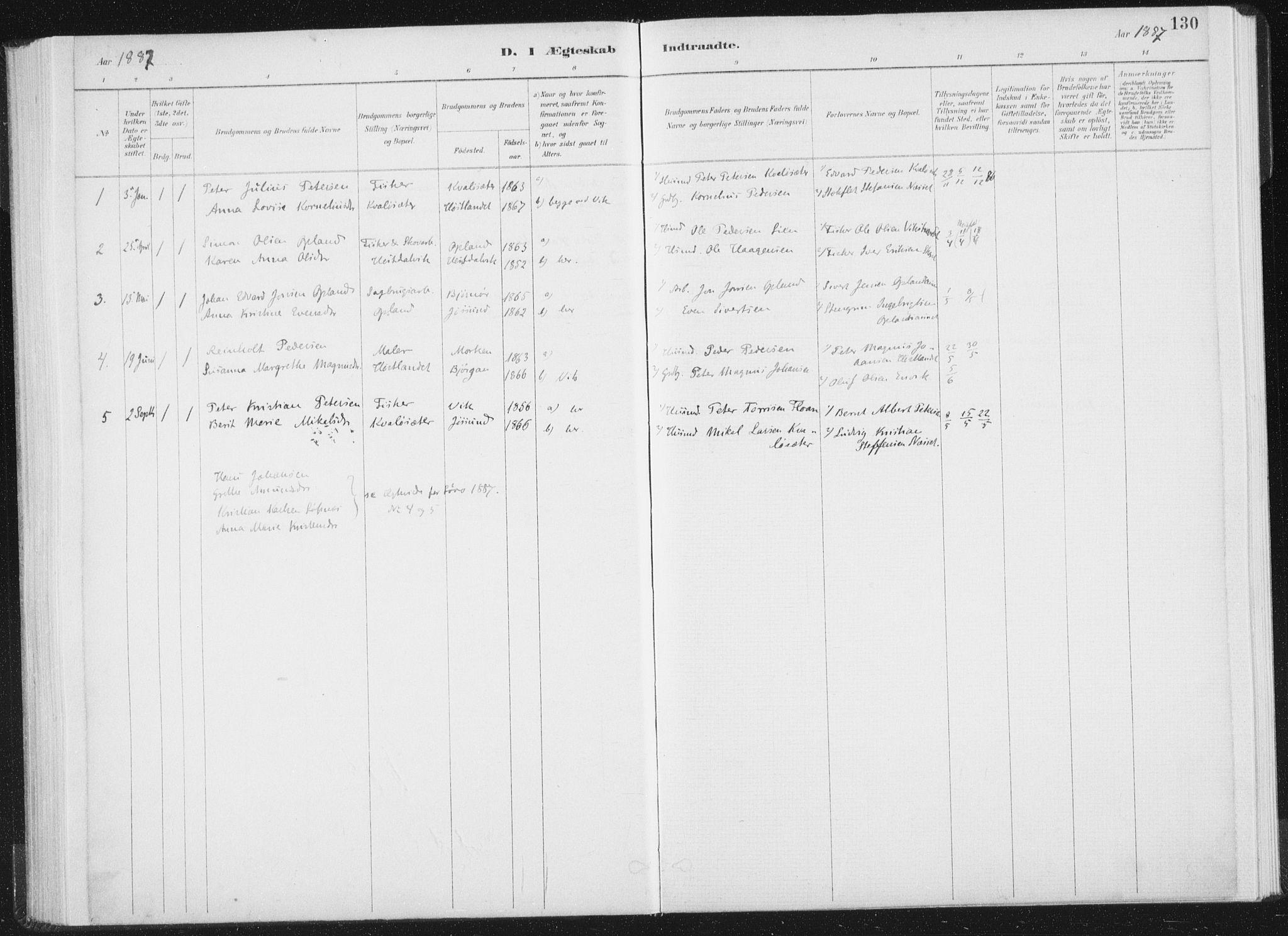SAT, Ministerialprotokoller, klokkerbøker og fødselsregistre - Nord-Trøndelag, 771/L0597: Ministerialbok nr. 771A04, 1885-1910, s. 130