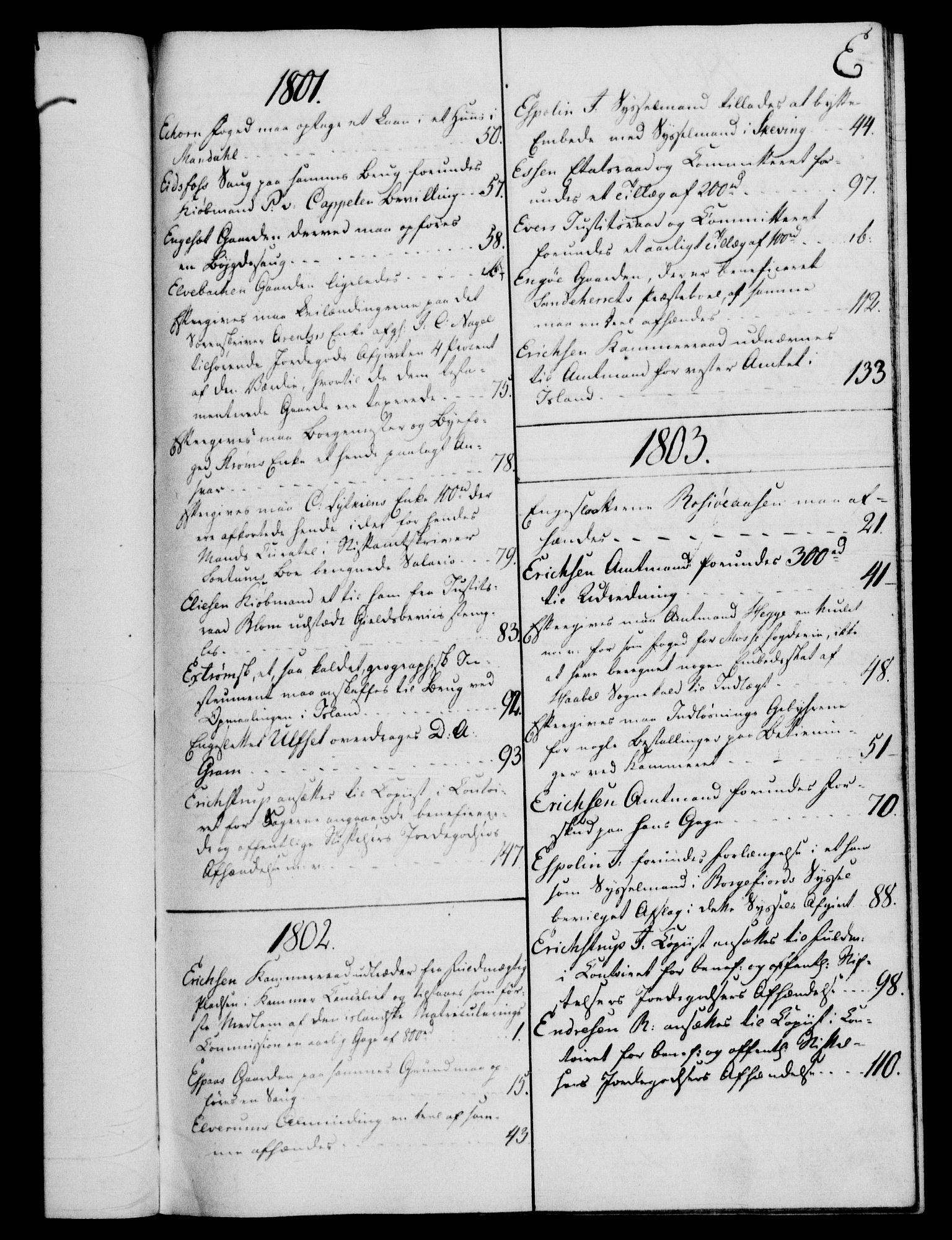 RA, Rentekammeret, Kammerkanselliet, G/Gf/Gfb/L0016: Register til norske relasjons- og resolusjonsprotokoller (merket RK 52.111), 1801-1814, s. 54
