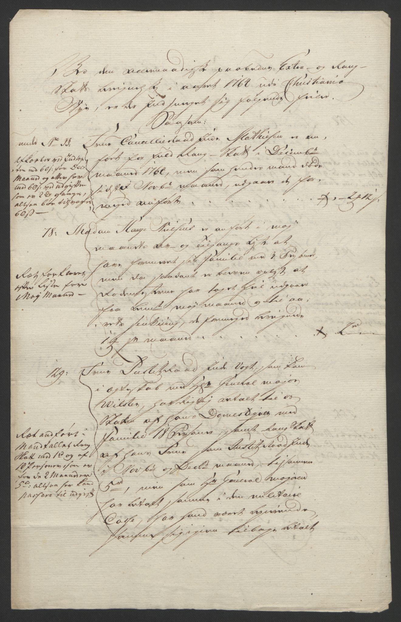 RA, Rentekammeret inntil 1814, Reviderte regnskaper, Byregnskaper, R/Re/L0072: [E13] Kontribusjonsregnskap, 1763-1764, s. 441