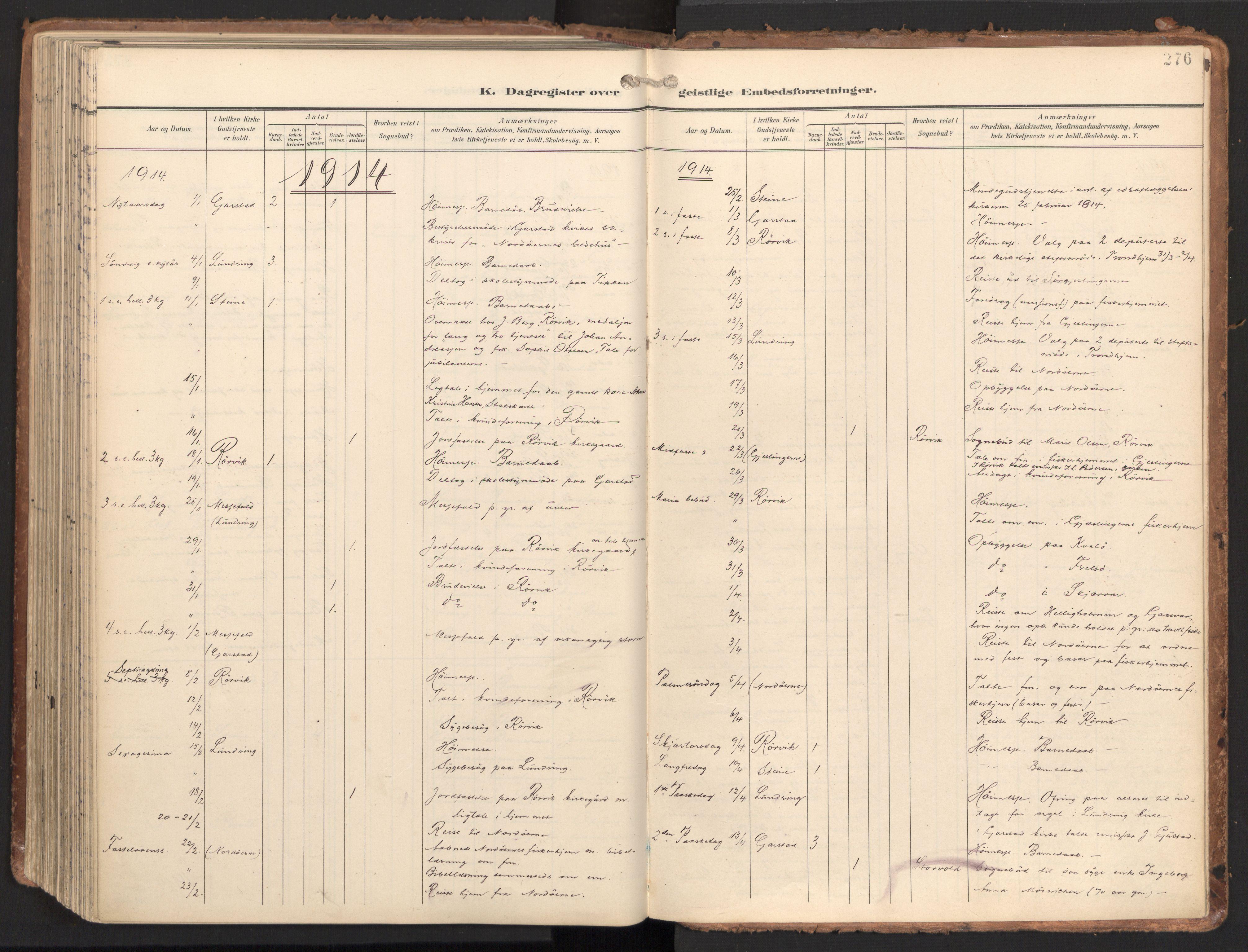 SAT, Ministerialprotokoller, klokkerbøker og fødselsregistre - Nord-Trøndelag, 784/L0677: Ministerialbok nr. 784A12, 1900-1920, s. 276
