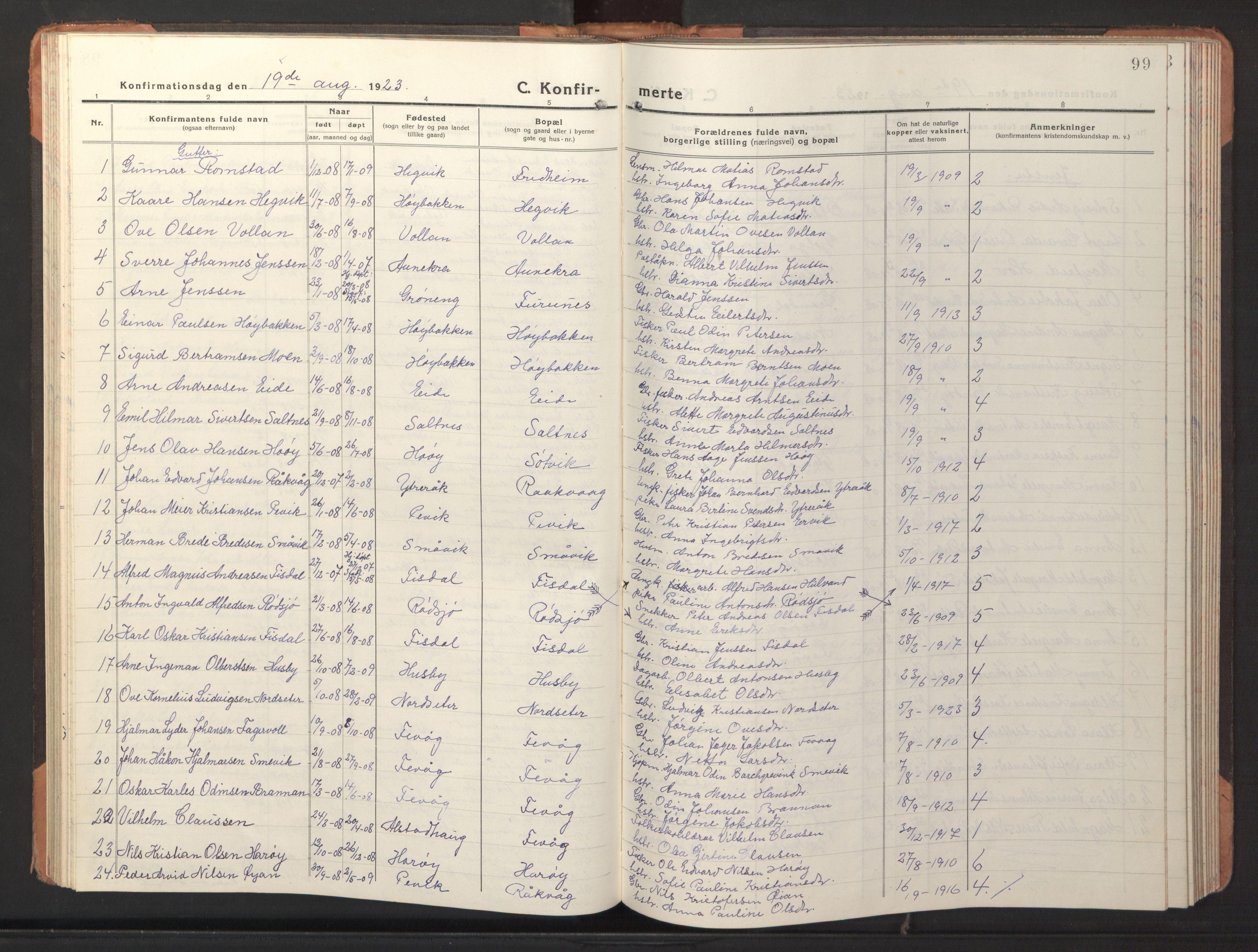 SAT, Ministerialprotokoller, klokkerbøker og fødselsregistre - Sør-Trøndelag, 653/L0658: Klokkerbok nr. 653C02, 1919-1947, s. 99
