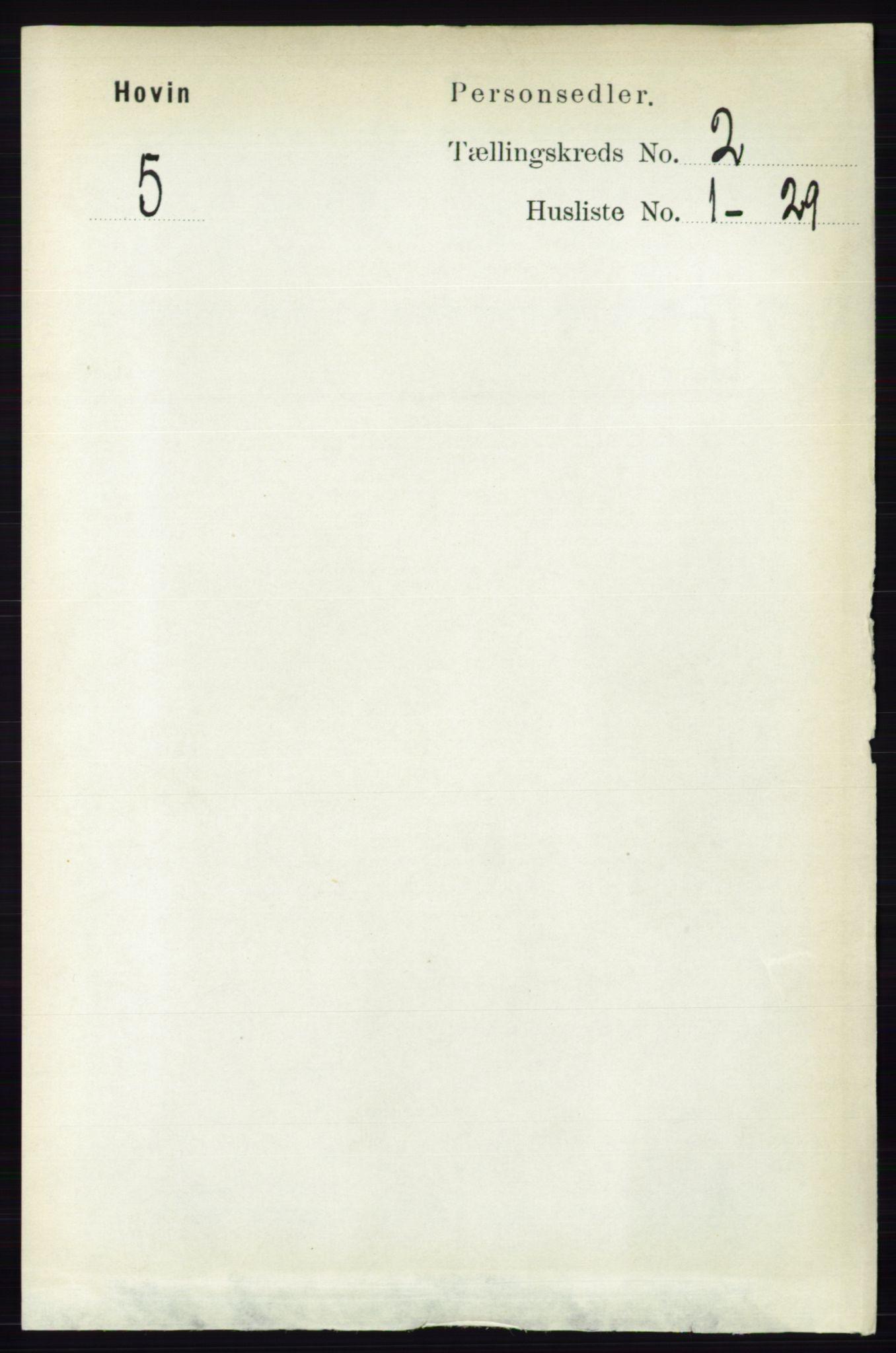 RA, Folketelling 1891 for 0825 Hovin herred, 1891, s. 489