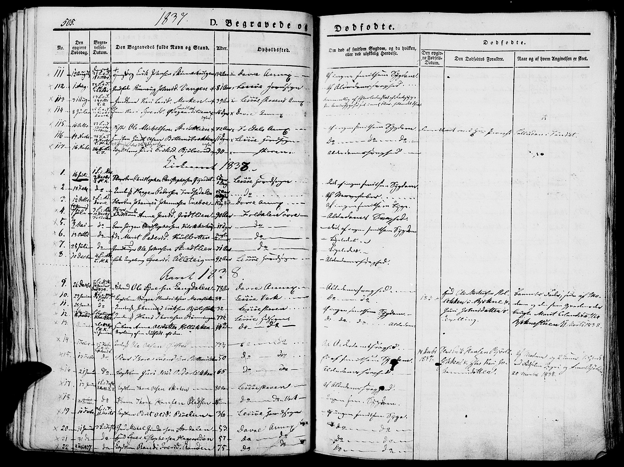 SAH, Lesja prestekontor, Ministerialbok nr. 5, 1830-1842, s. 505